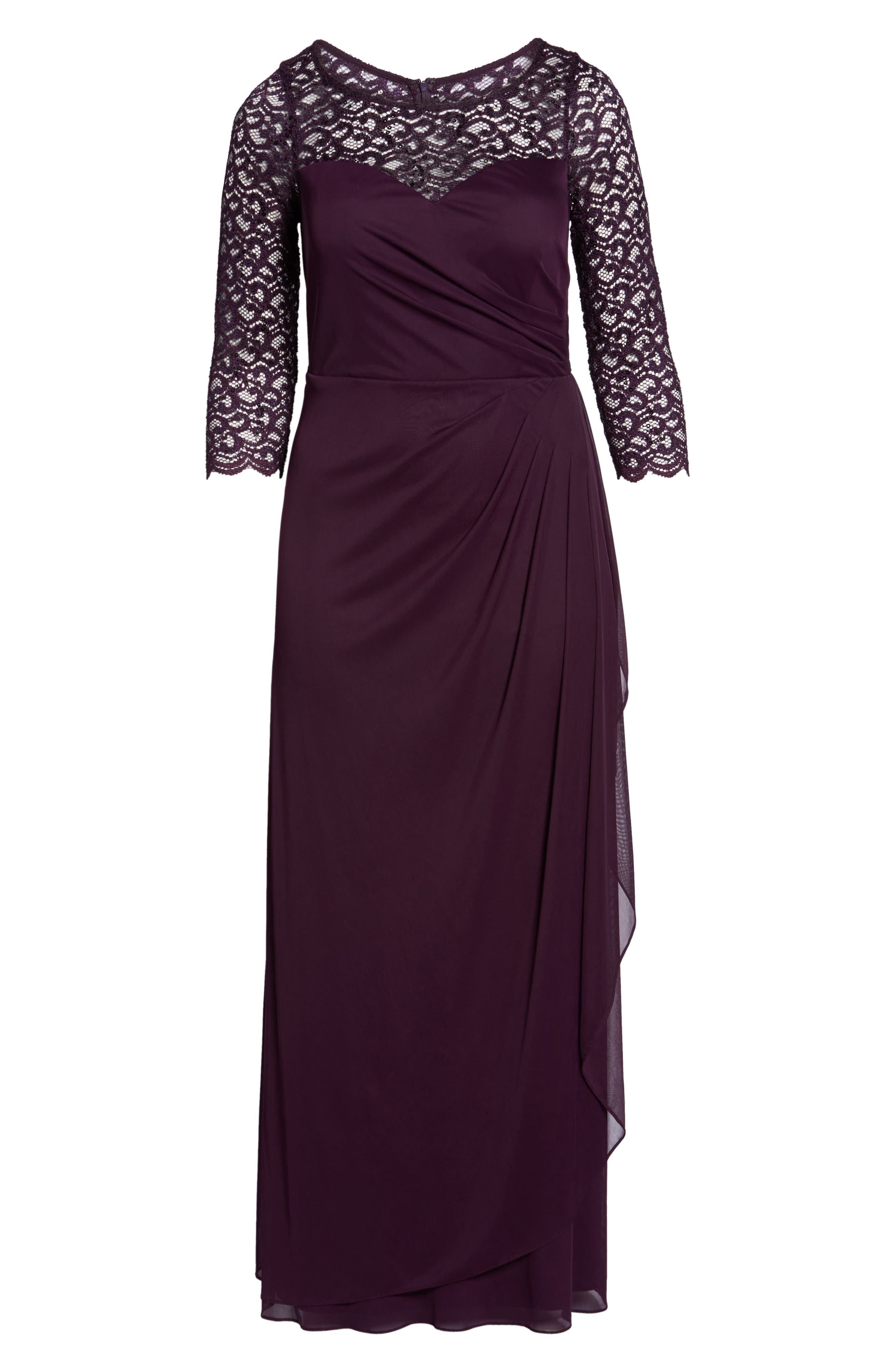 Lace & Matte Jersey Gown,                             Alternate thumbnail 6, color,                             Plum