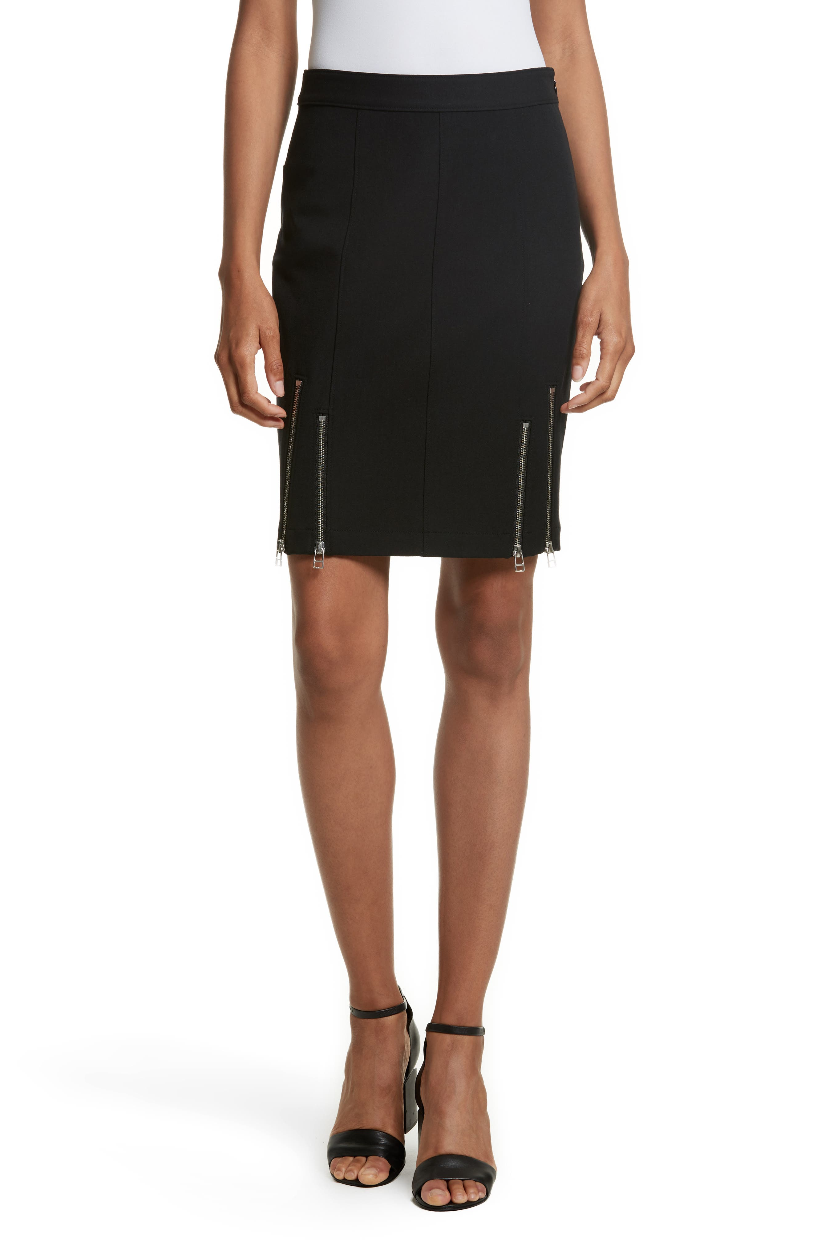 Alternate Image 1 Selected - T by Alexander Wang Zip Detail Knit Pencil Skirt