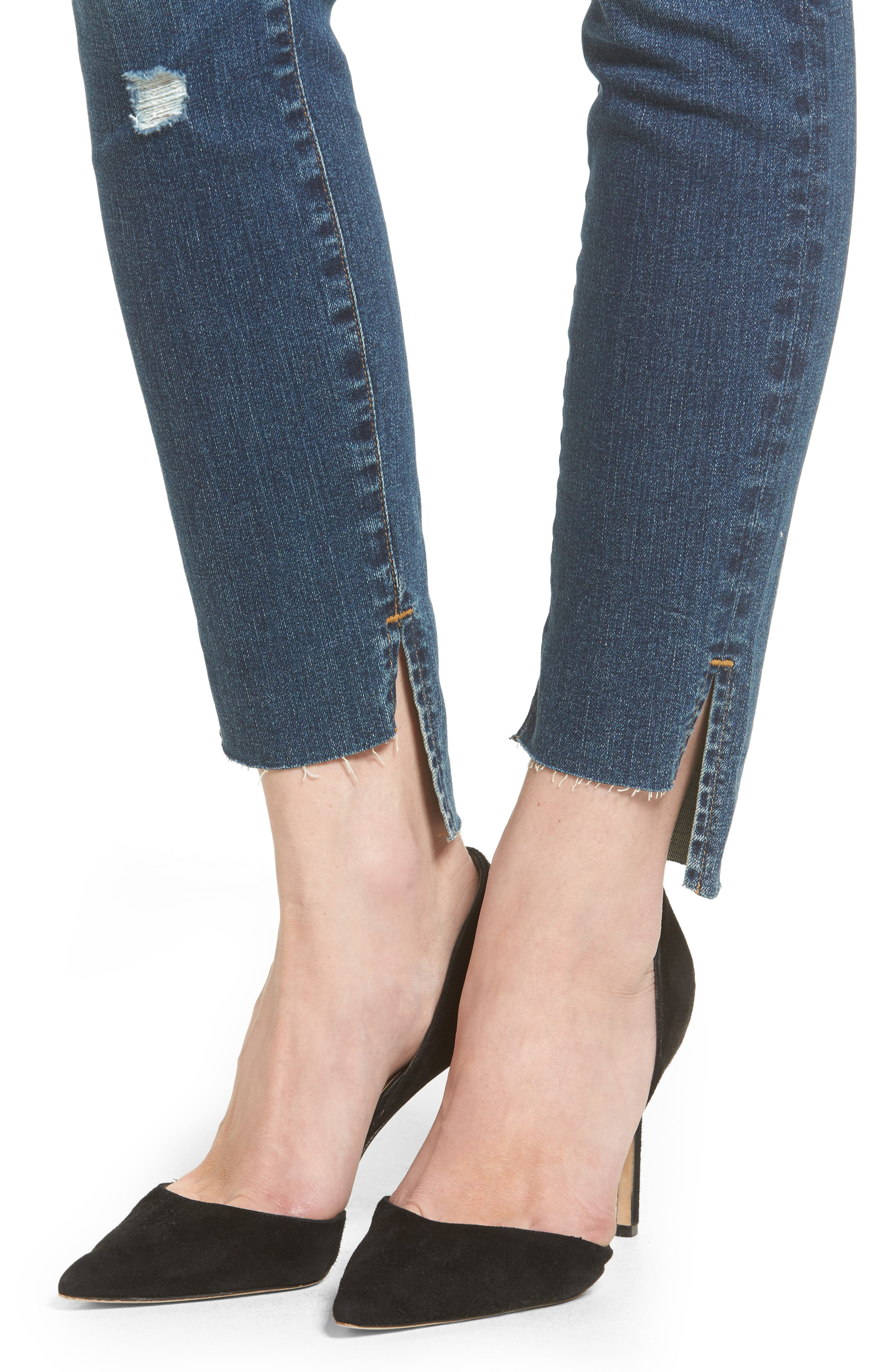 Good Waist Stagger Hem Jeans,                             Alternate thumbnail 4, color,                             Blue074
