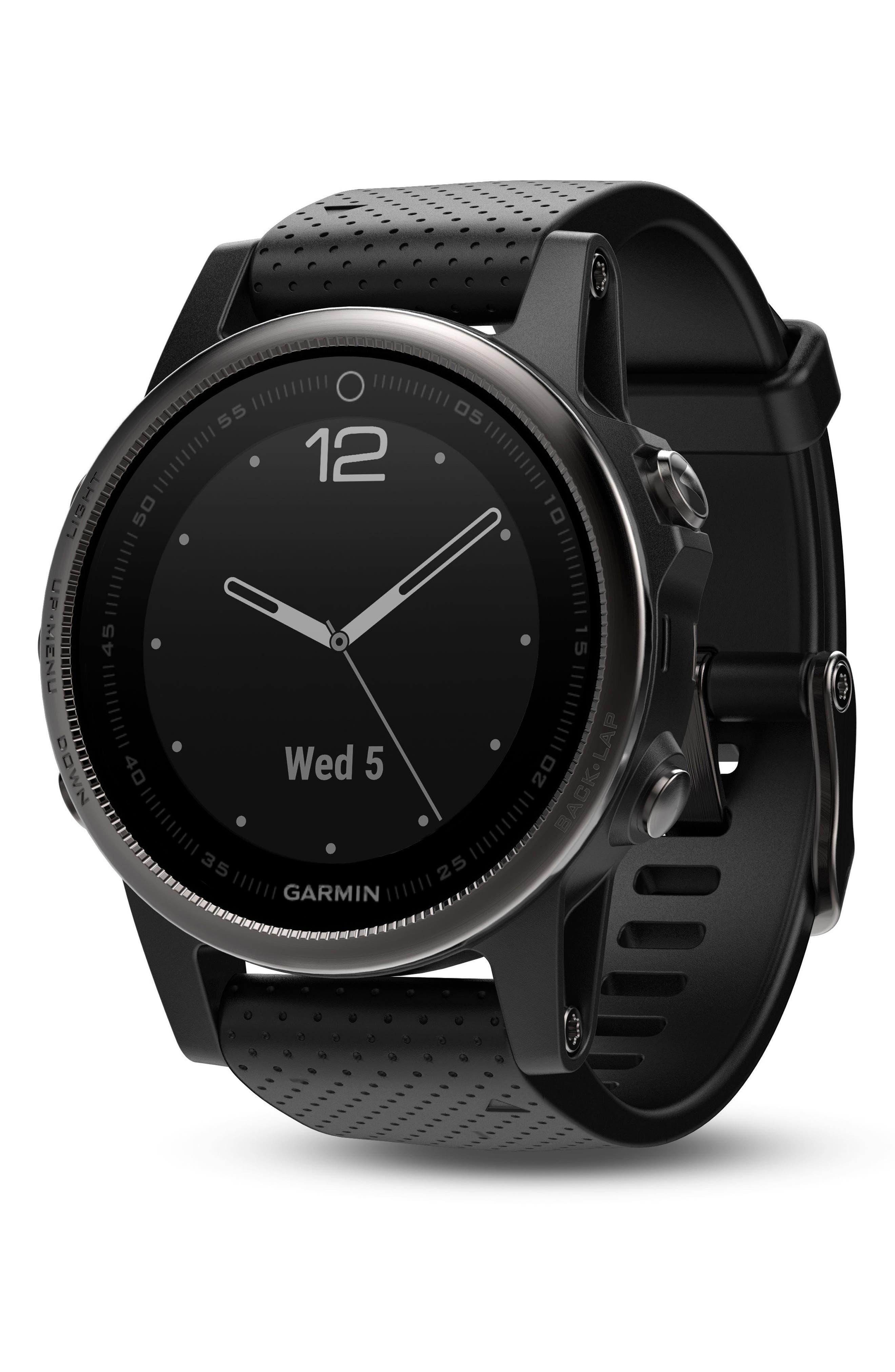 fenix<sup>®</sup> 5S Sapphire Premium Multisport GPS Watch, 42mm,                             Main thumbnail 1, color,                             Black/ Black Sapphire