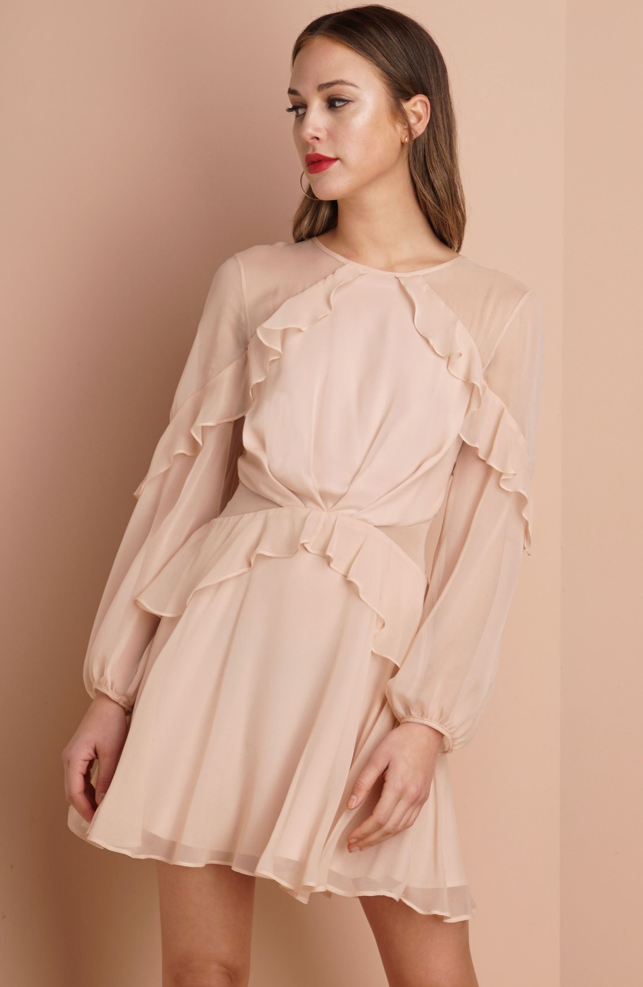 Alternate Image 2  - Greylin Libbie Ruffle Silk Dress