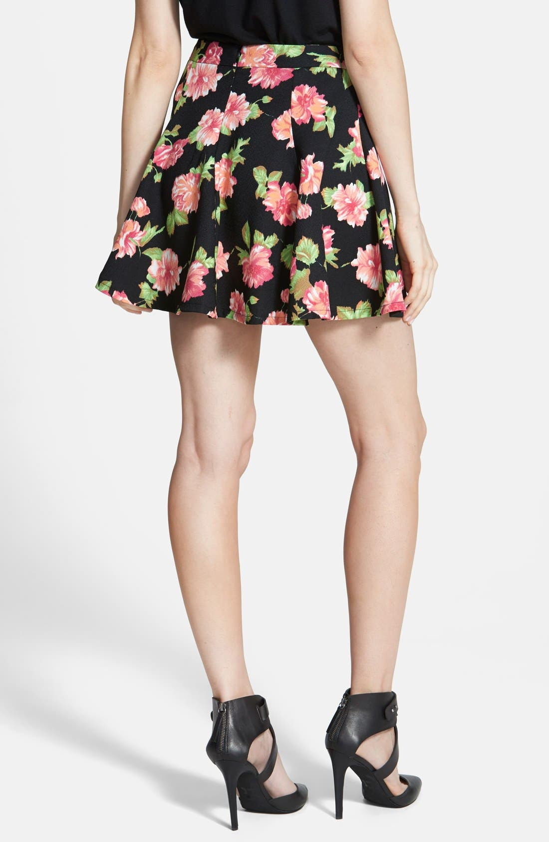 Floral Print Skater Skirt,                             Alternate thumbnail 2, color,                             Black/ Rose