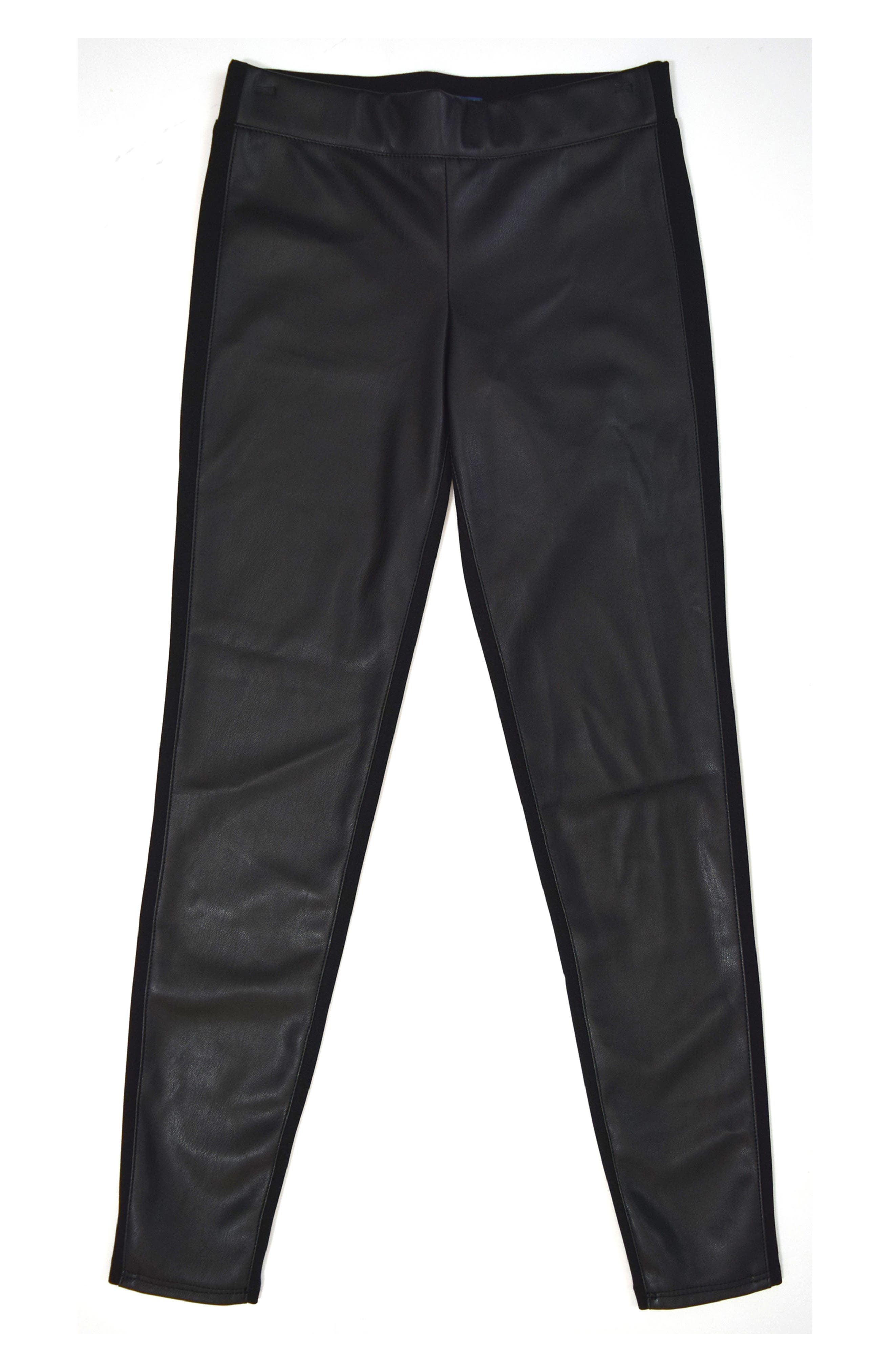 Main Image - Tractr Faux Leather Ponte Skinny Pants (Little Girls)