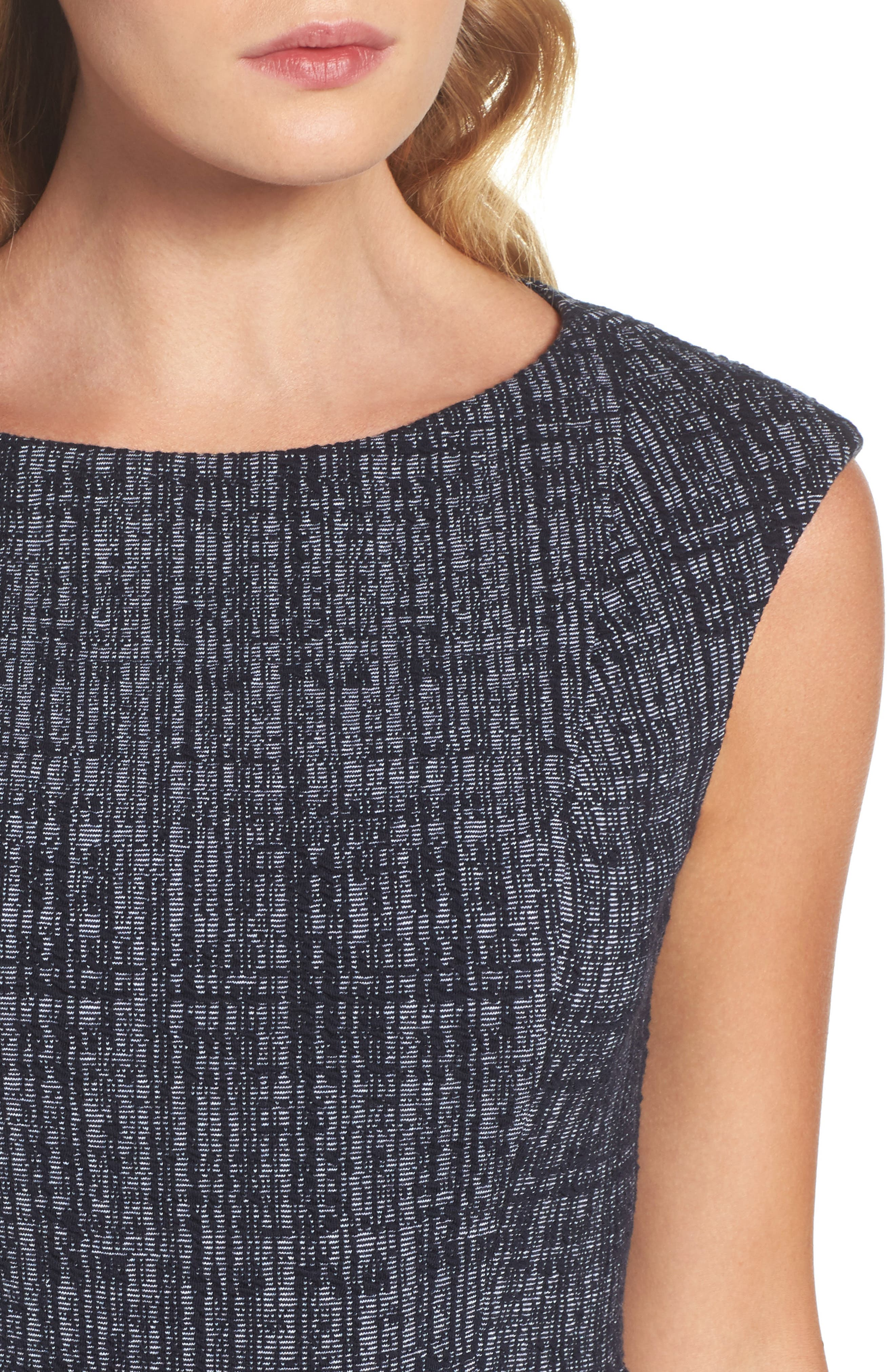 Tweed Fit & Flare Dress,                             Alternate thumbnail 4, color,                             Navy