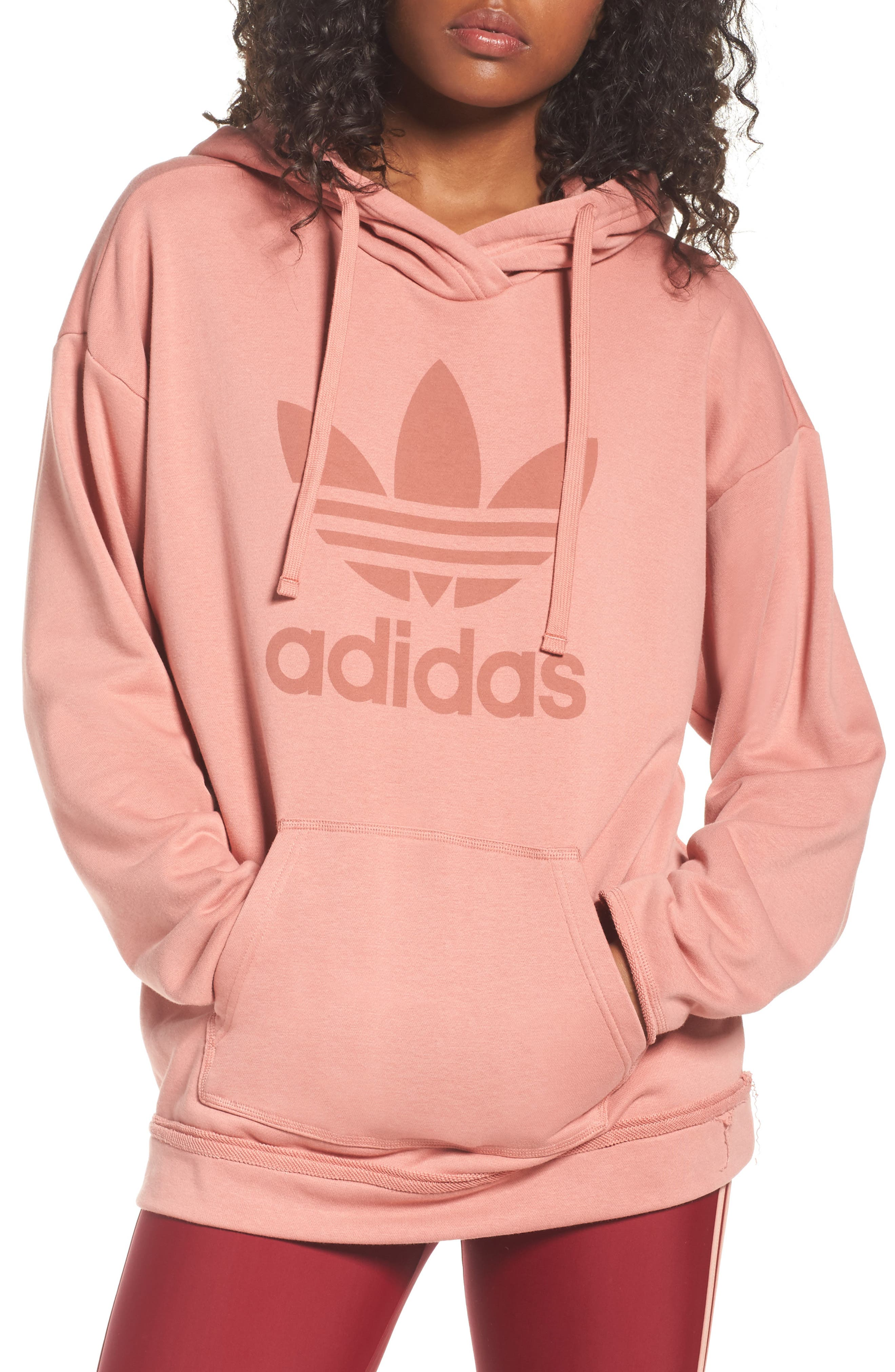 Originals Trefoil Hoodie,                             Main thumbnail 1, color,                             Raw Pink