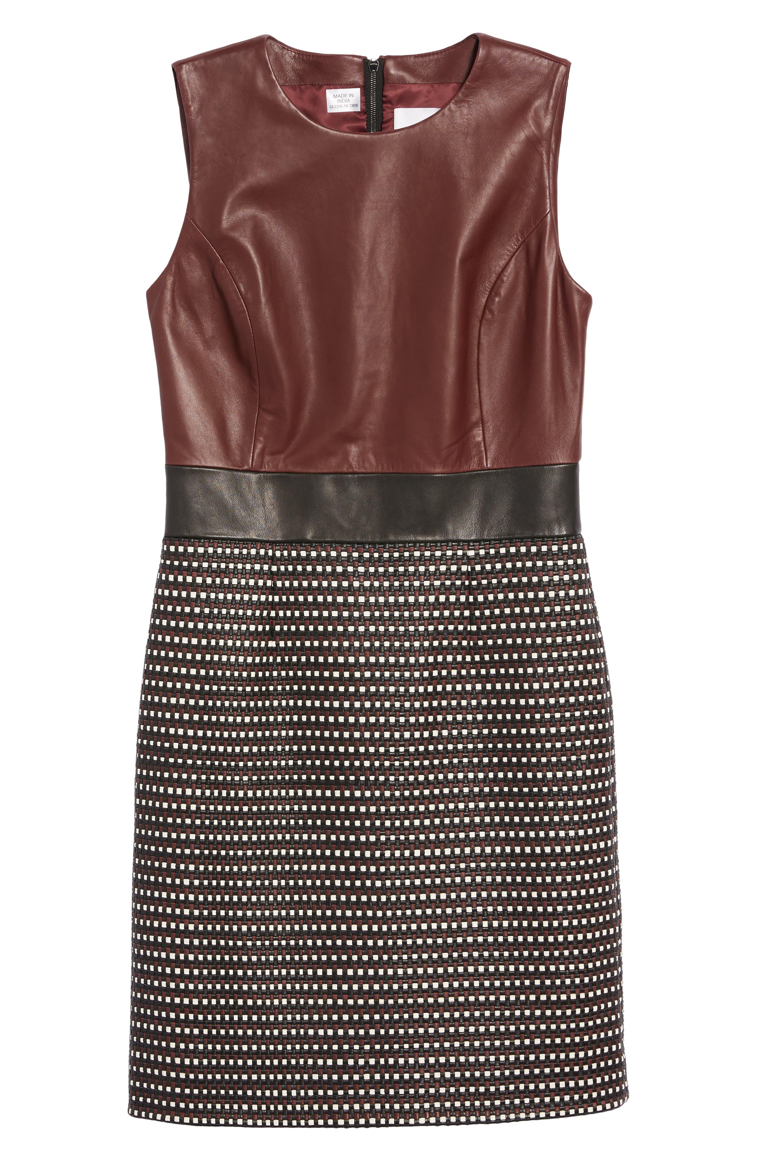 Syrina Leather Sheath Dress,                             Alternate thumbnail 6, color,                             Black/ Pomegranate