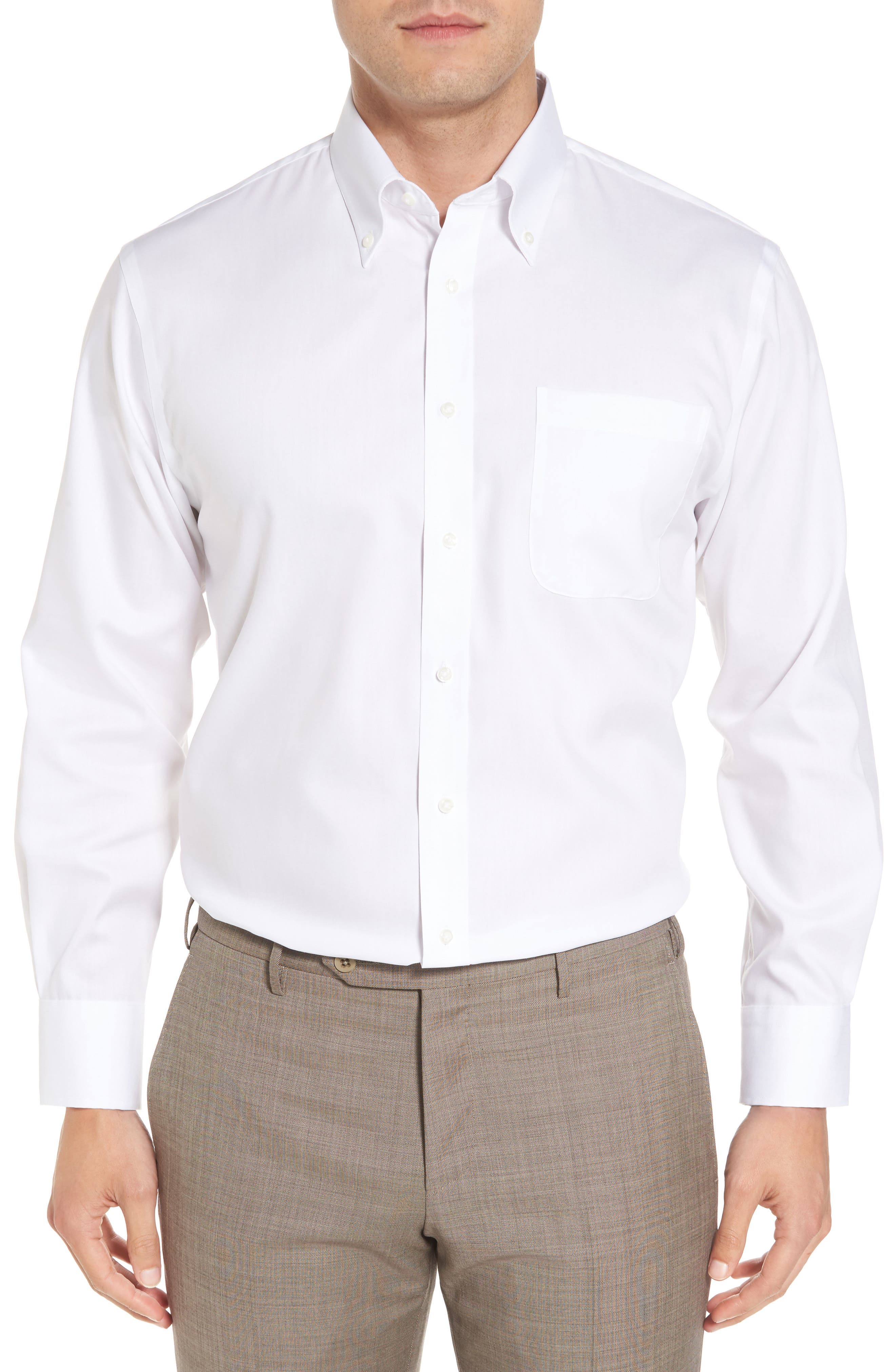 Traditional Fit Non-Iron Solid Dress Shirt,                             Main thumbnail 1, color,                             White