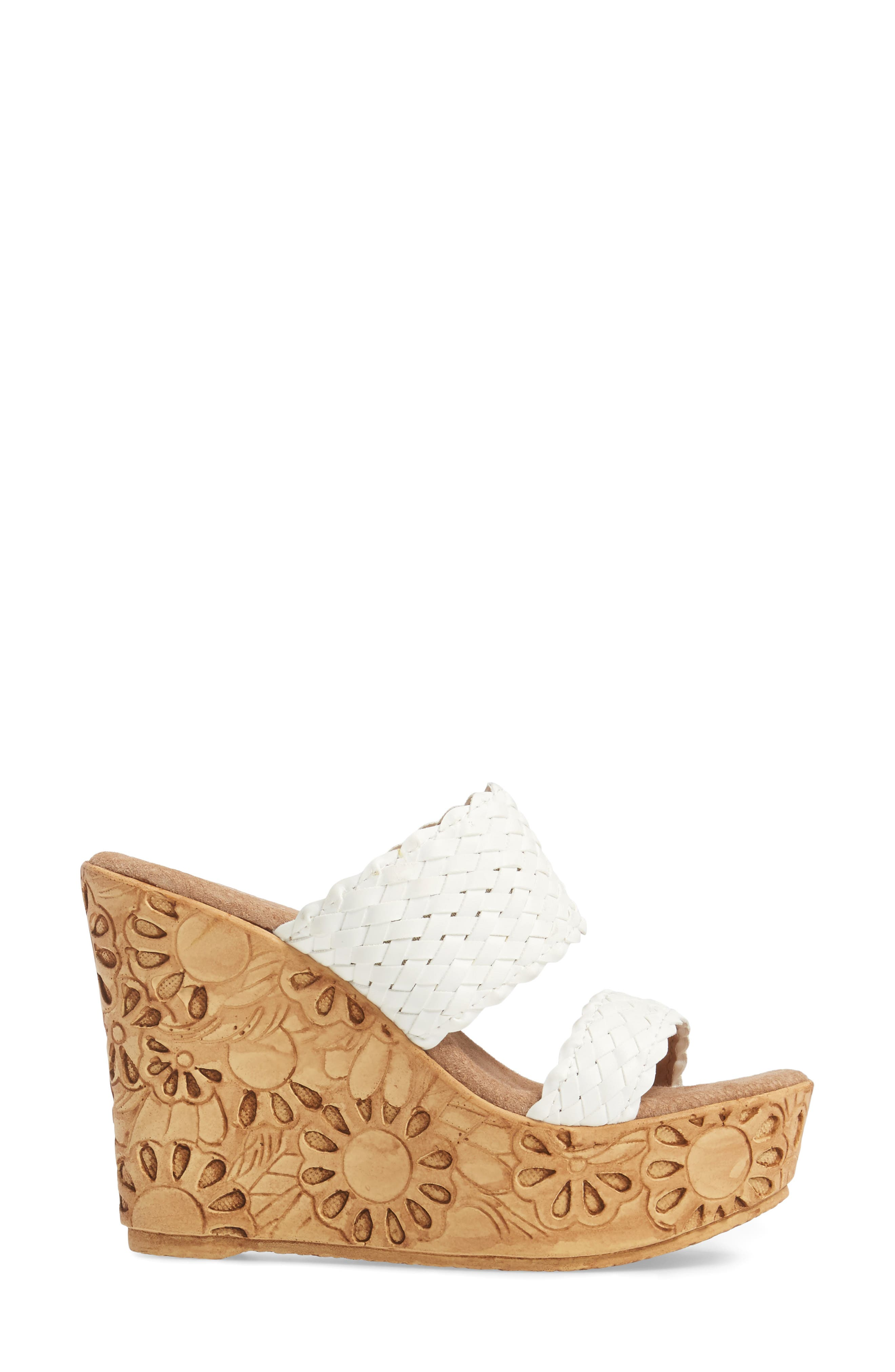 Halima Platform Wedge Sandal,                             Alternate thumbnail 3, color,                             White Leather