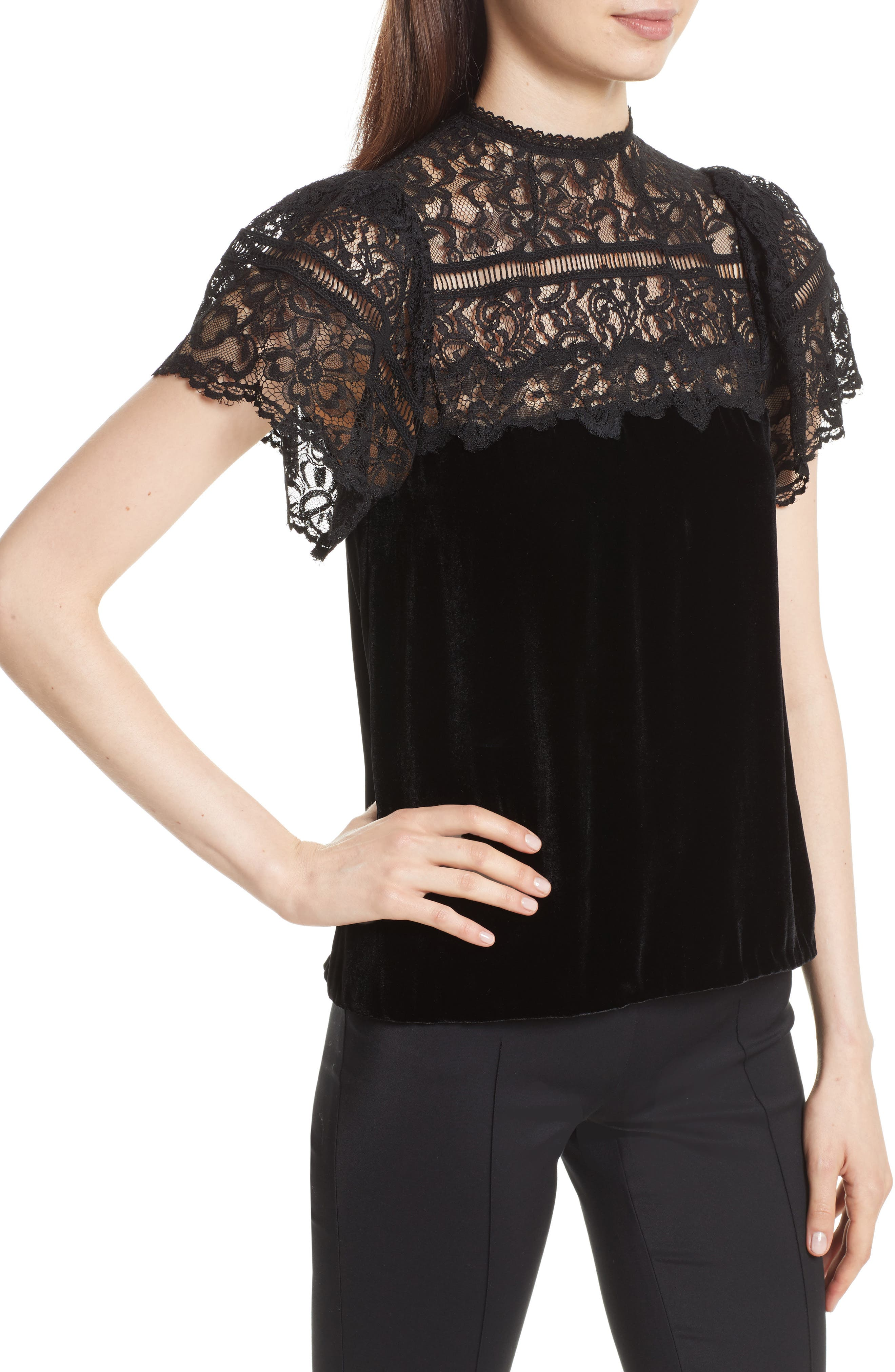 Short Sleeve Velvet & Lace Top,                             Alternate thumbnail 4, color,                             Black