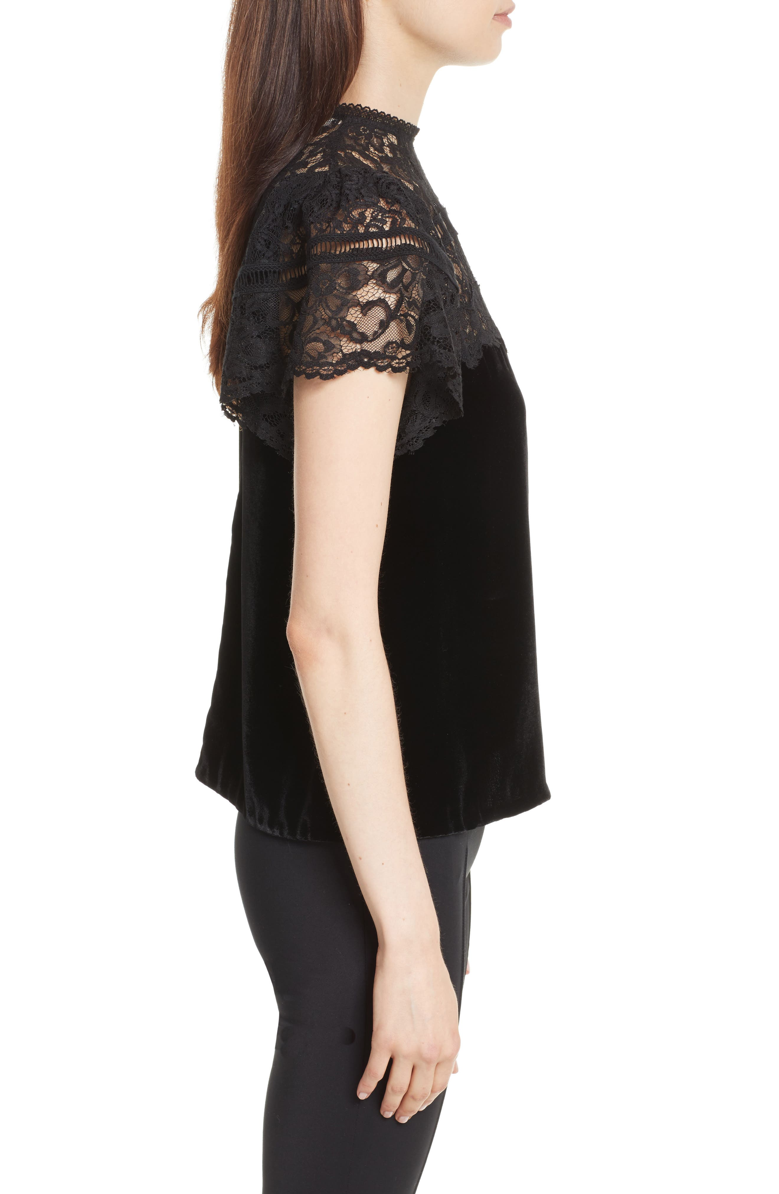 Short Sleeve Velvet & Lace Top,                             Alternate thumbnail 3, color,                             Black