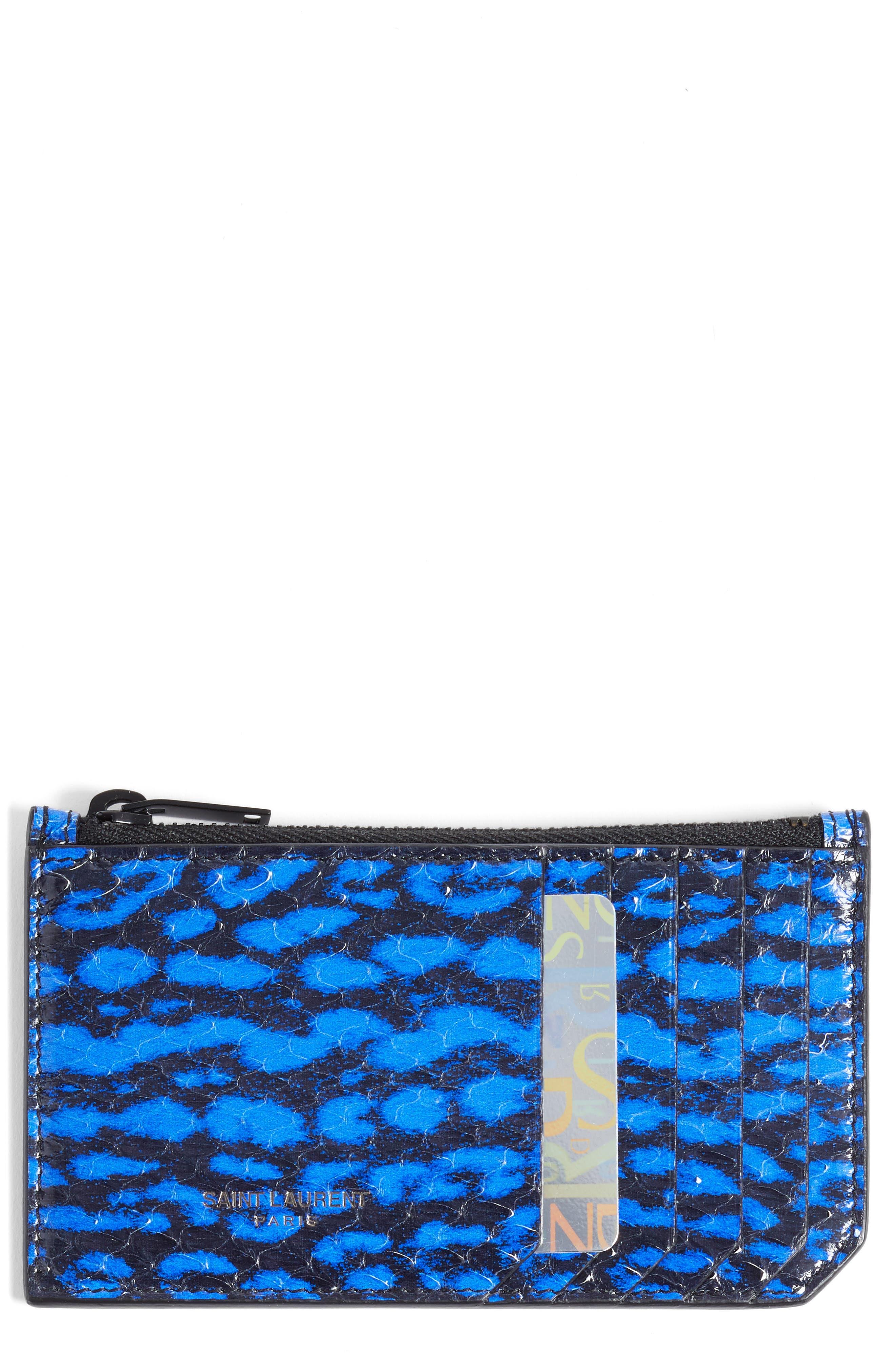 Genuine Snakeskin Zip Pouch,                         Main,                         color, Noir/ Blue