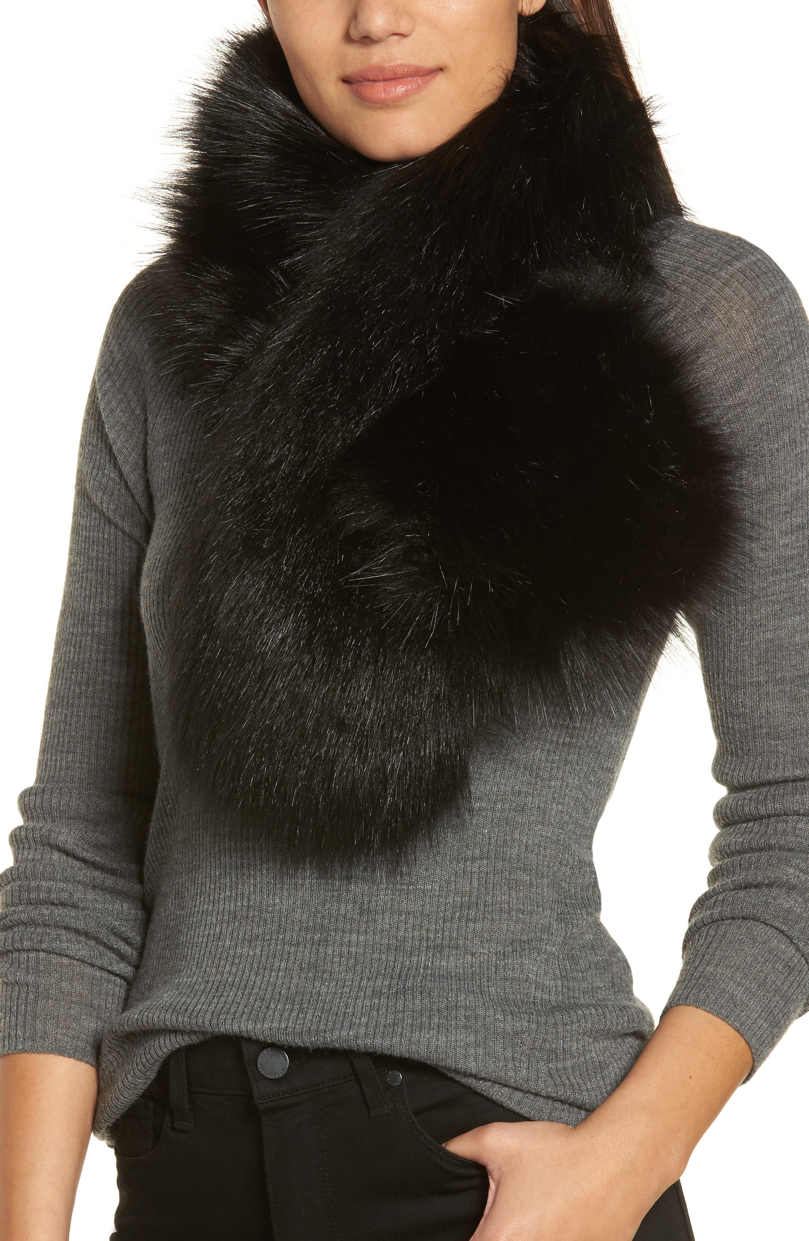Faux Fur Stole,                             Main thumbnail 1, color,                             Black