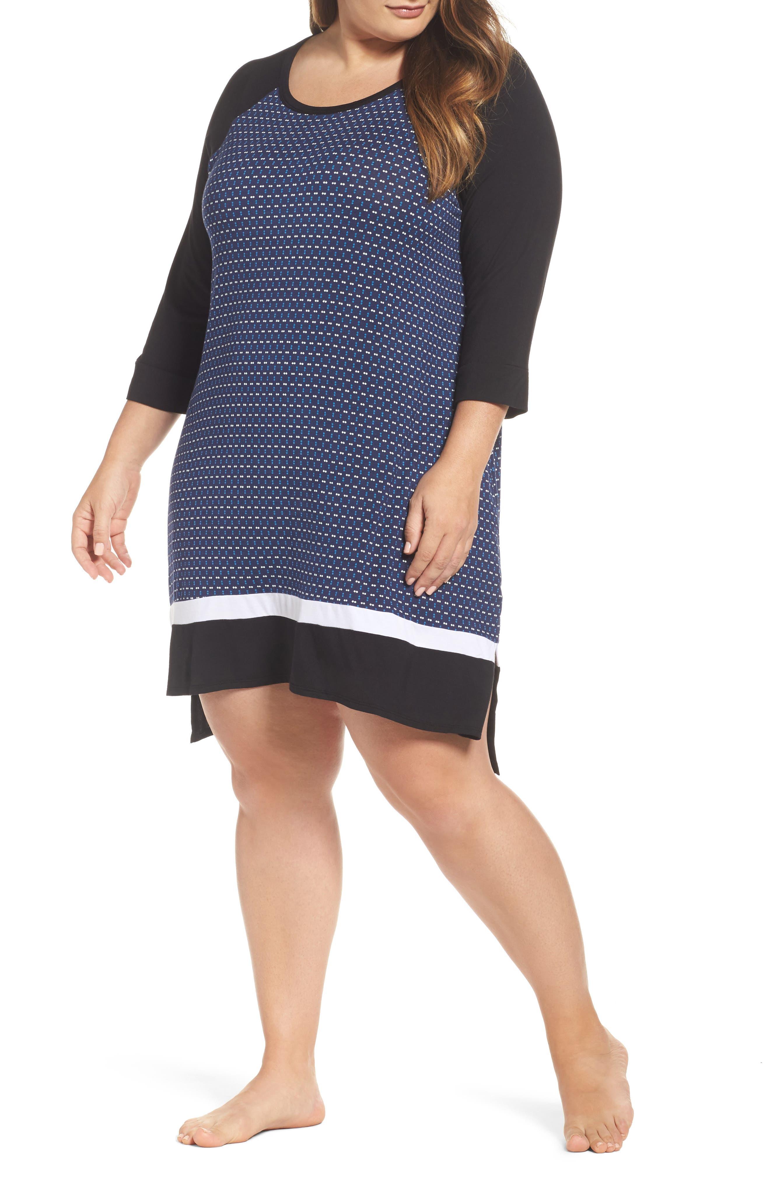 Main Image - DKNY Stripe Sleepshirt (Plus Size)