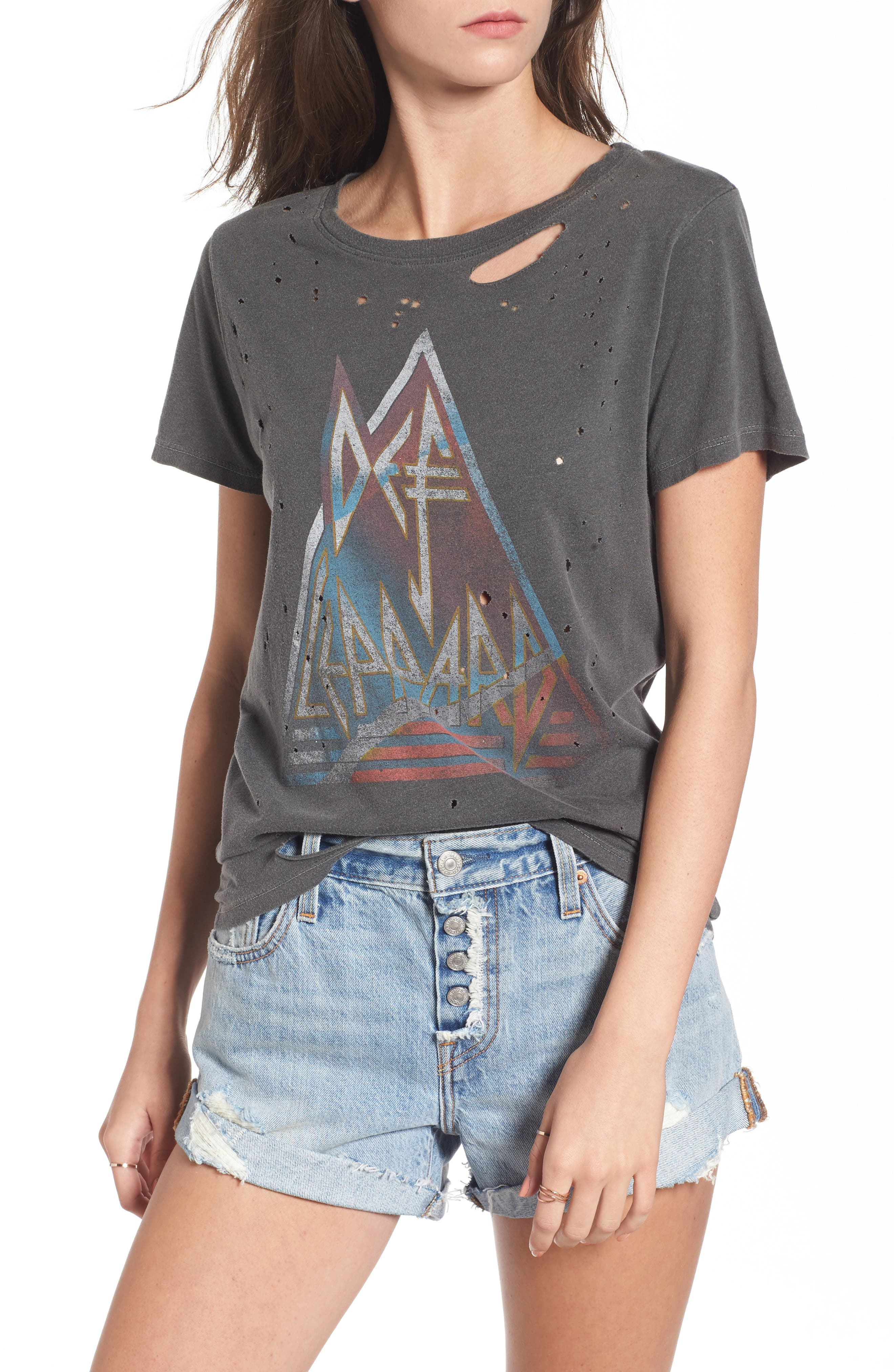 Through the Night Destroyed Graphic Tee,                         Main,                         color, Black