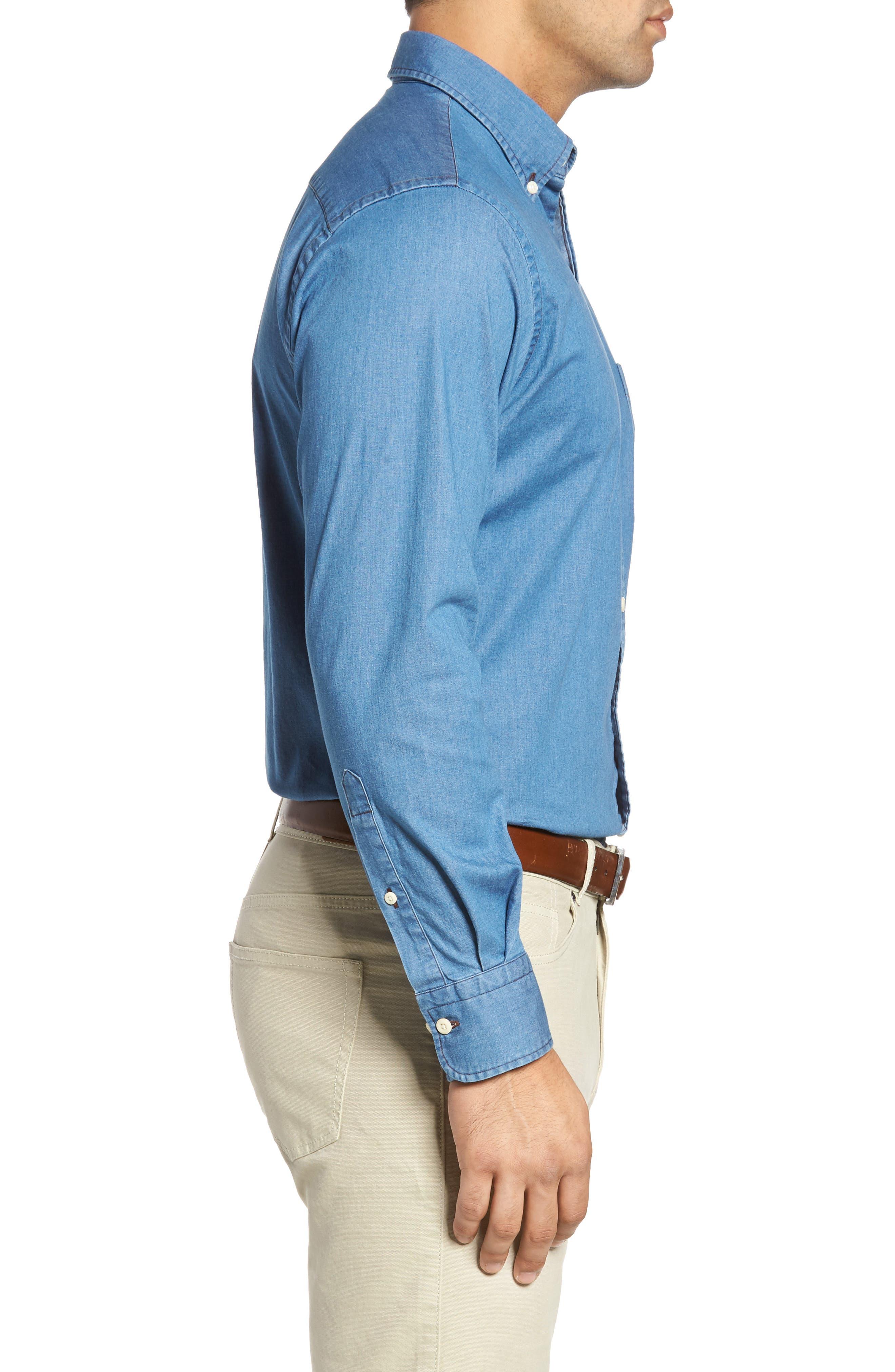 Crown Vintage Regular Fit Denim Sport Shirt,                             Alternate thumbnail 3, color,                             Indigo