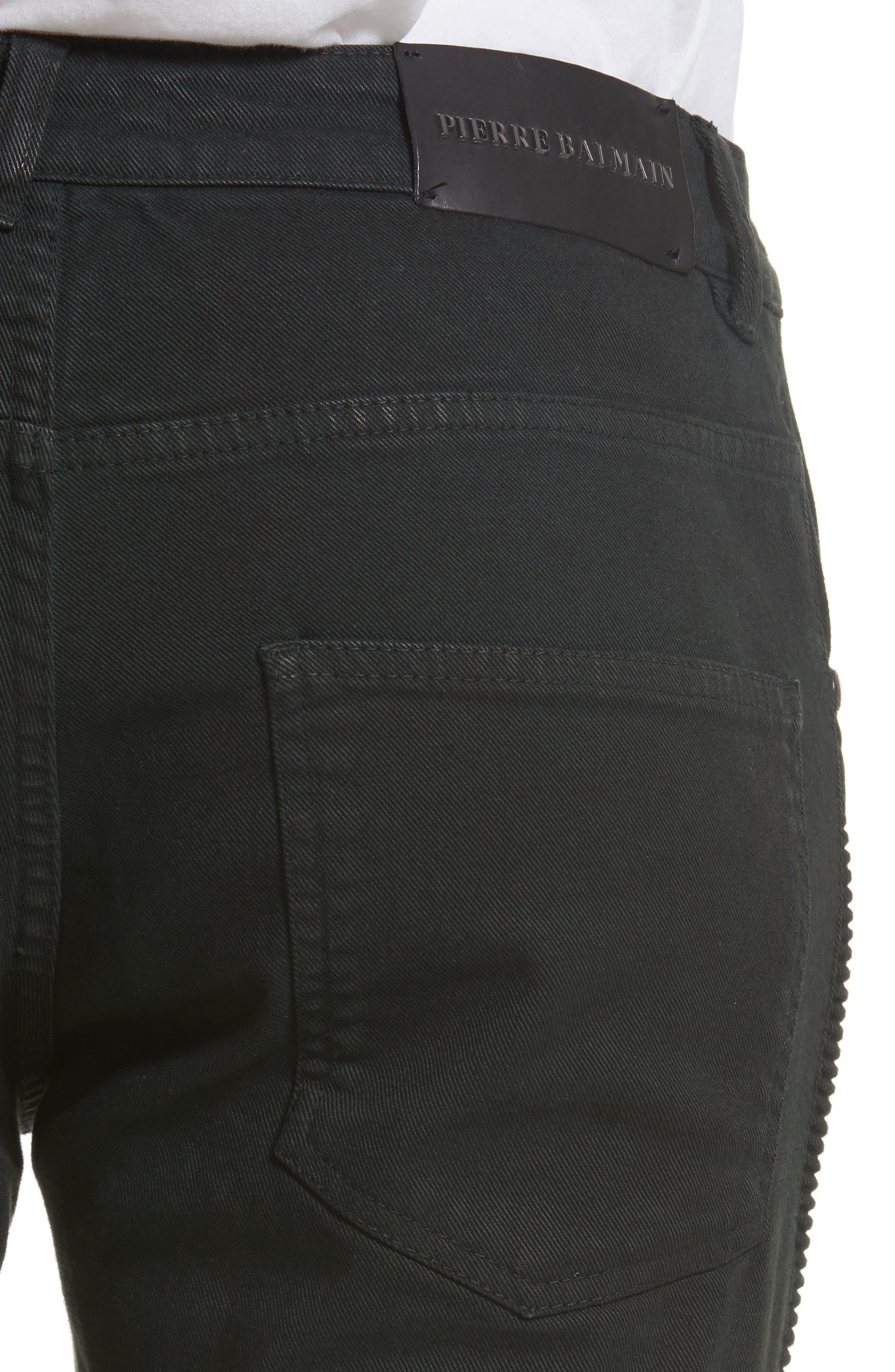 Moto Jeans,                             Alternate thumbnail 5, color,                             Dark Green