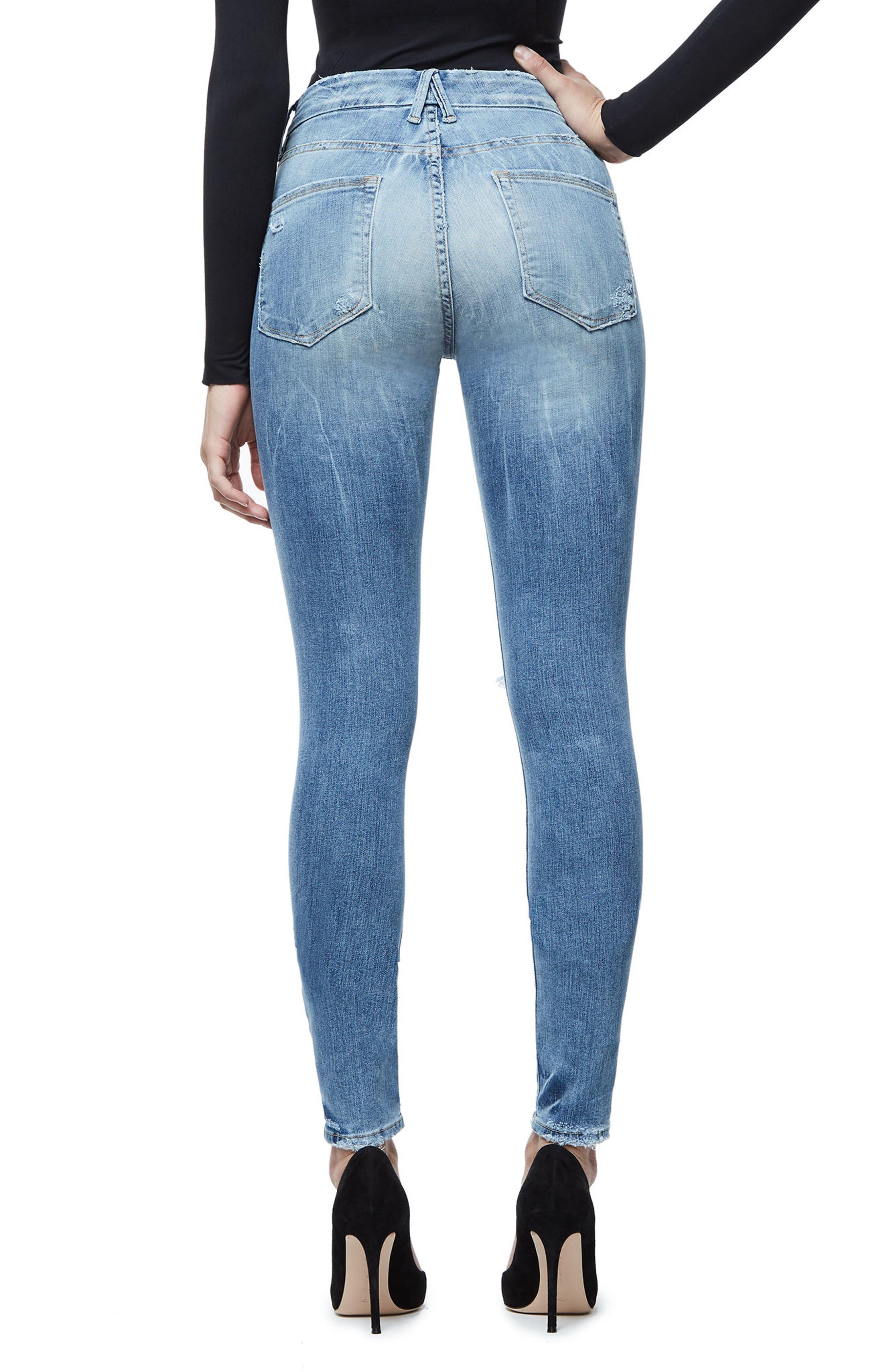 Alternate Image 2  - Good American Good Legs Ripped Skinny Jeans (Blue 068)