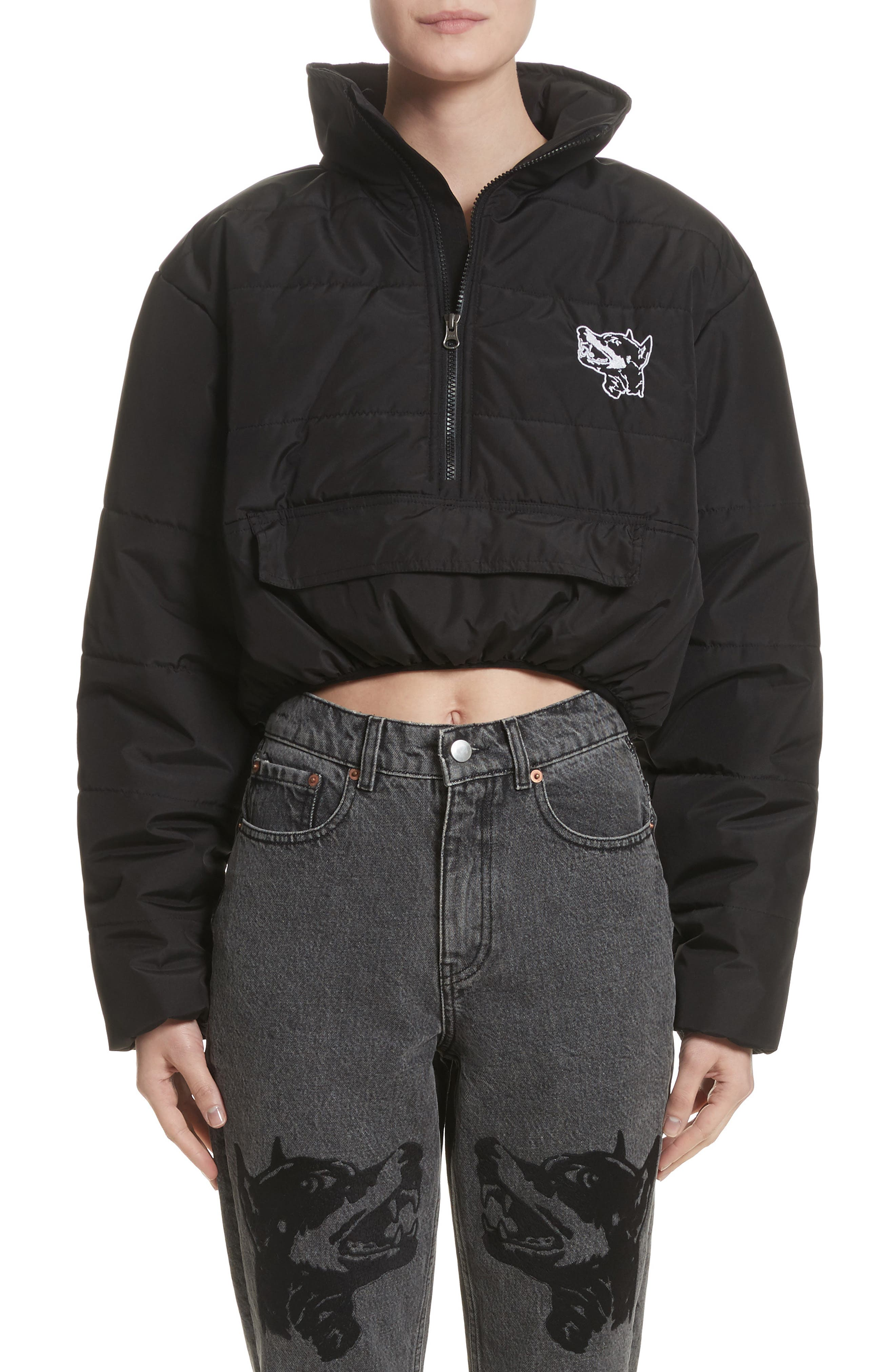 Misery Crop Puffer Coat,                         Main,                         color, Black