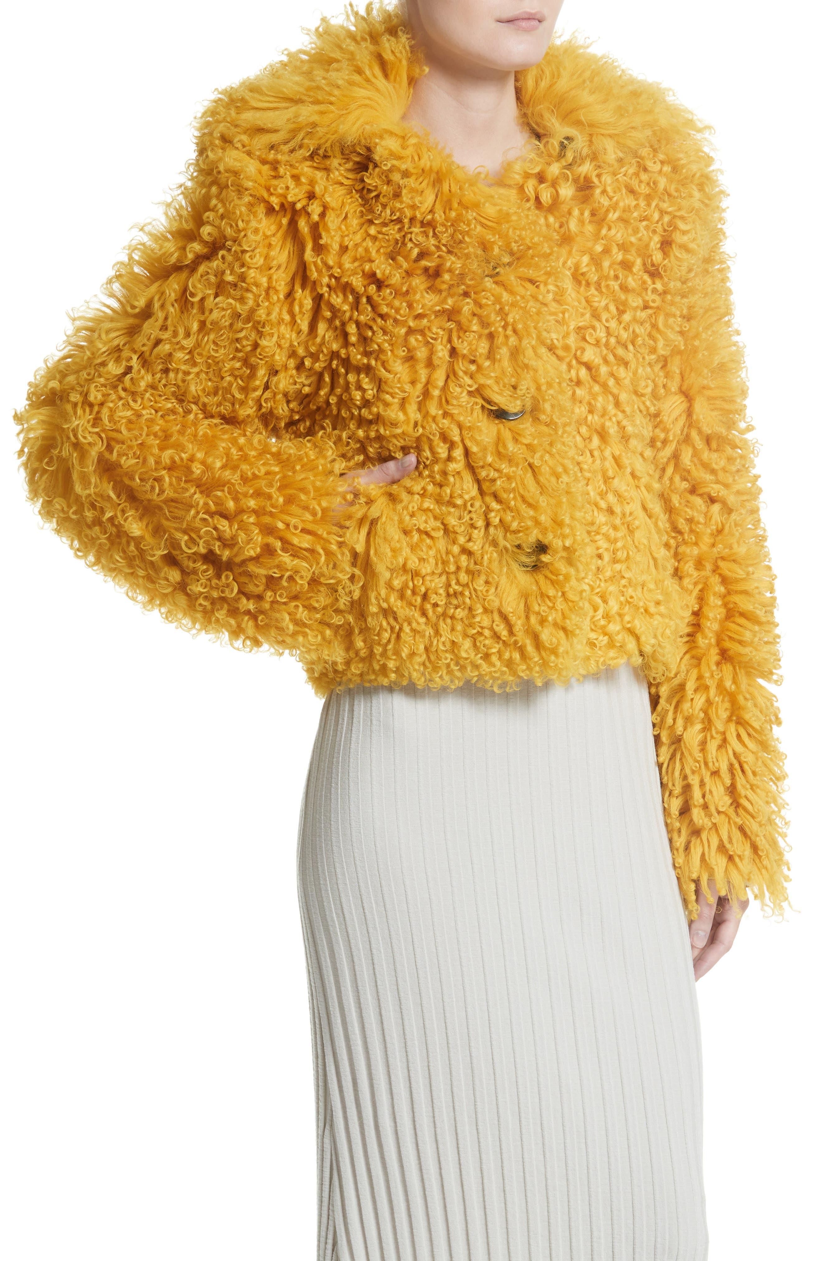Genuine Shearling Moto Jacket,                             Alternate thumbnail 4, color,                             Mustard
