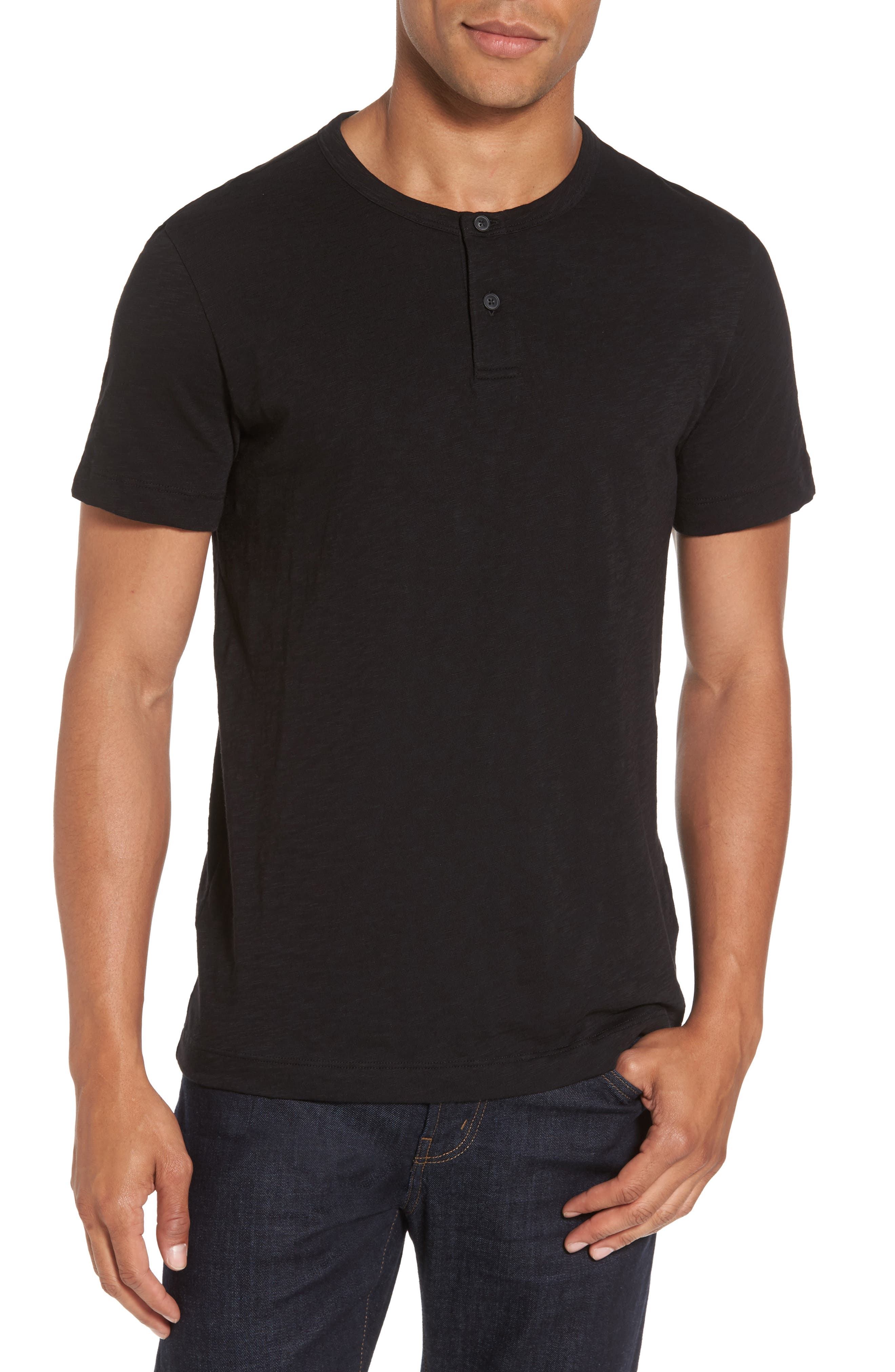 Gaskell Henley T-Shirt,                         Main,                         color, Black