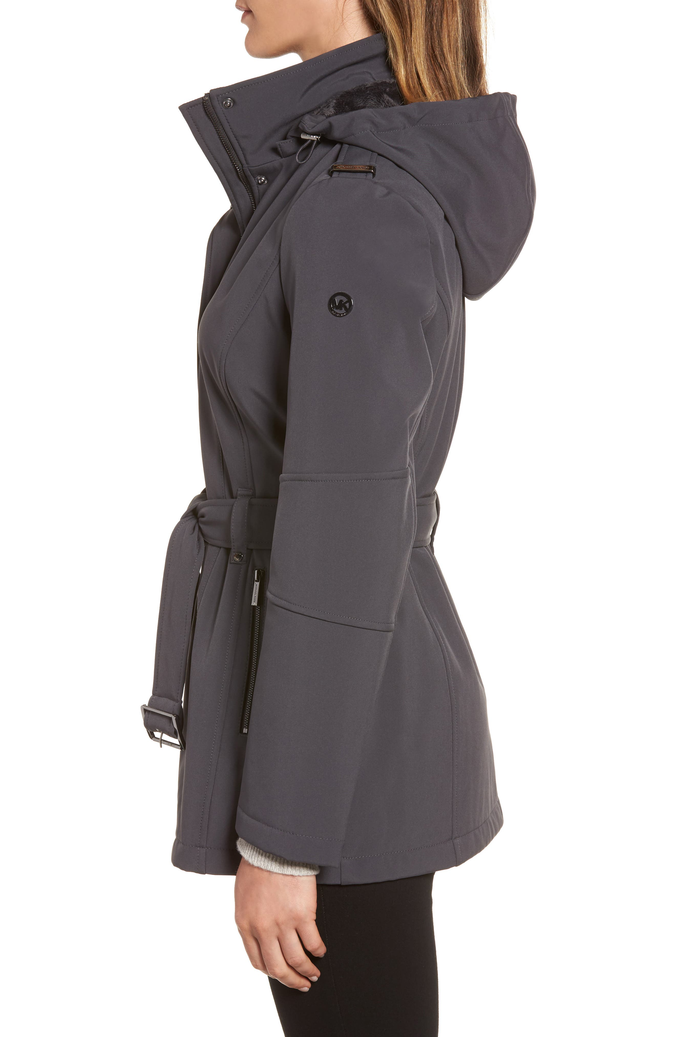 Waterproof Belted Jacket with Detachable Hood,                             Alternate thumbnail 3, color,                             Charcoal