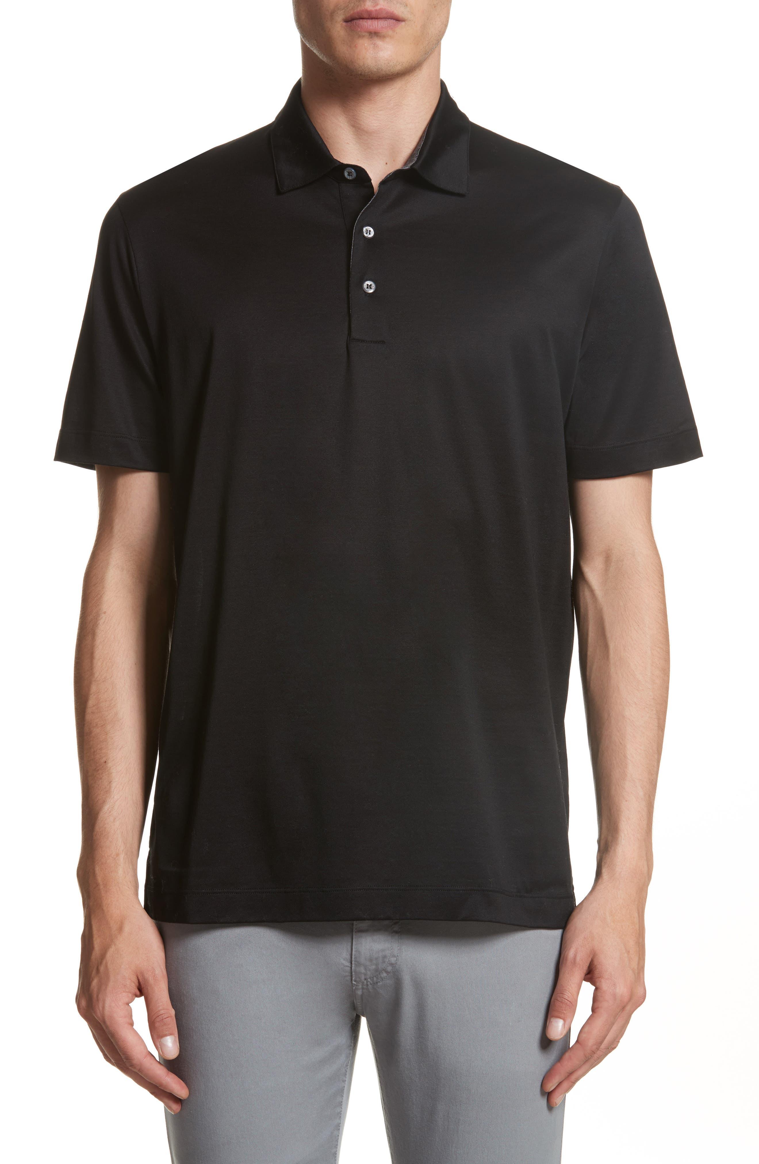 Mercerized Cotton Polo,                         Main,                         color, Black