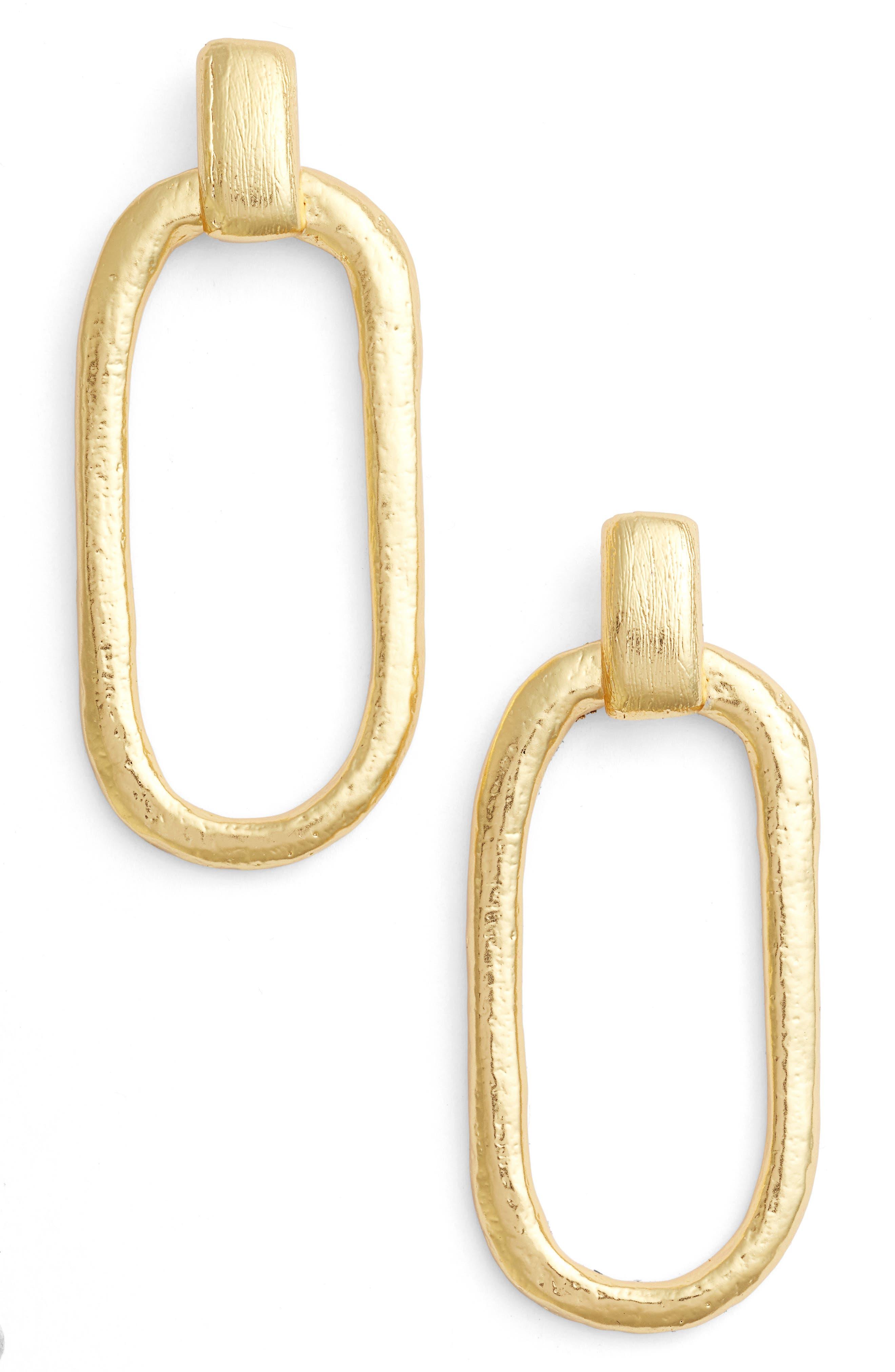Doorknocker Earrings,                         Main,                         color, Gold