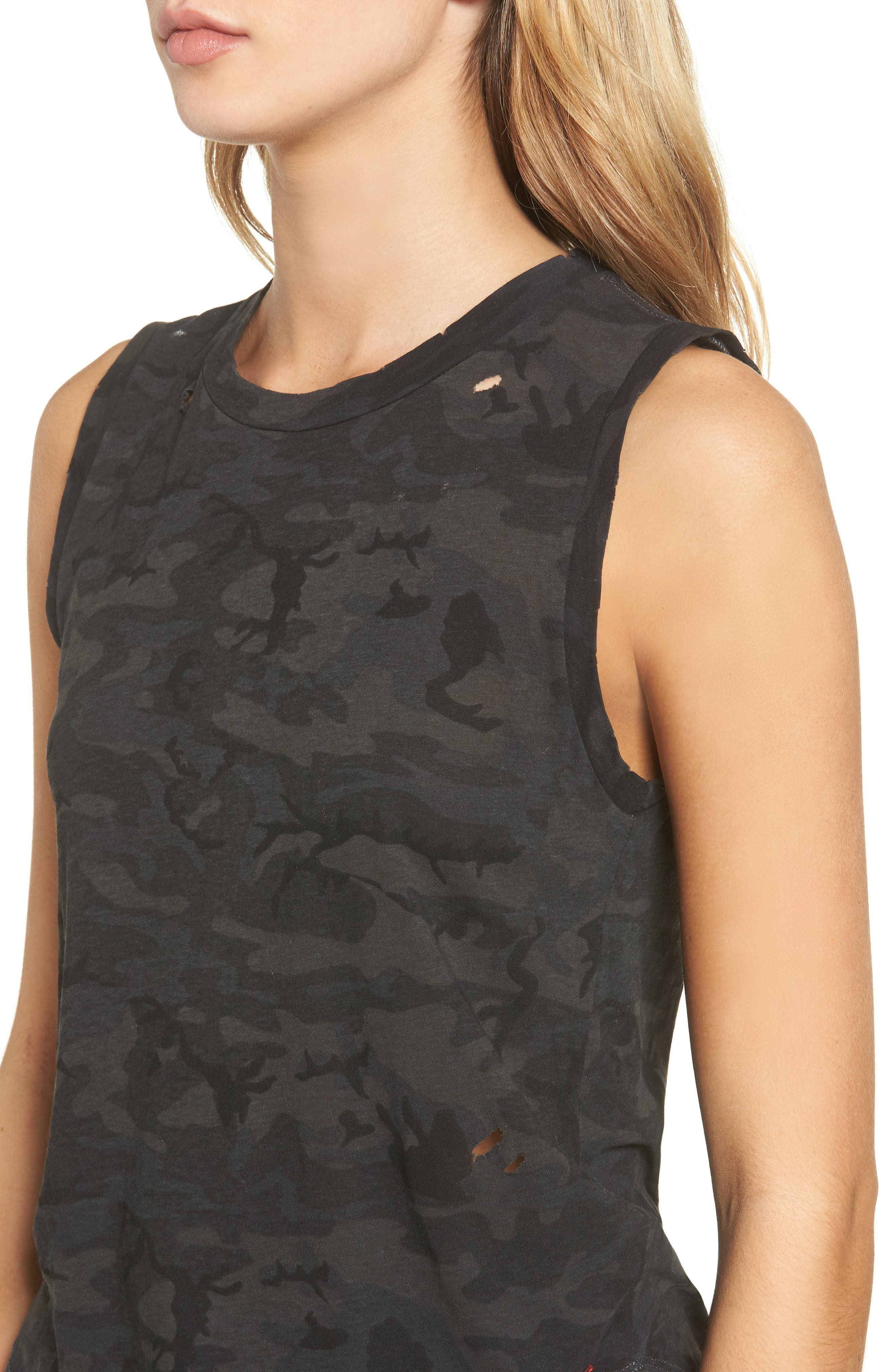 Corin Distressed Muscle Tank,                             Alternate thumbnail 4, color,                             Ghost Multi Camo