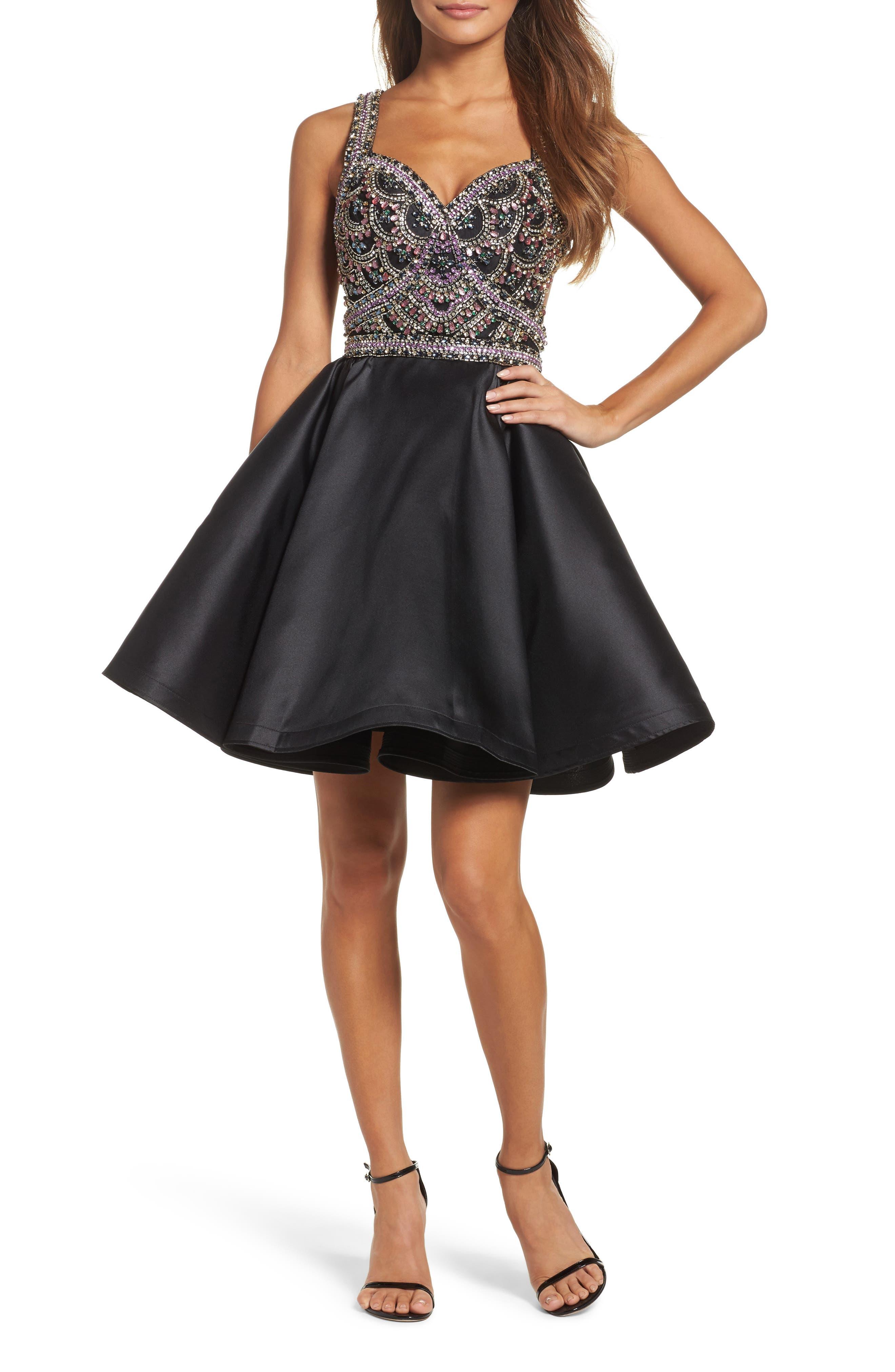 MAC DUGGAL Bejeweled Fit & Flare Dress