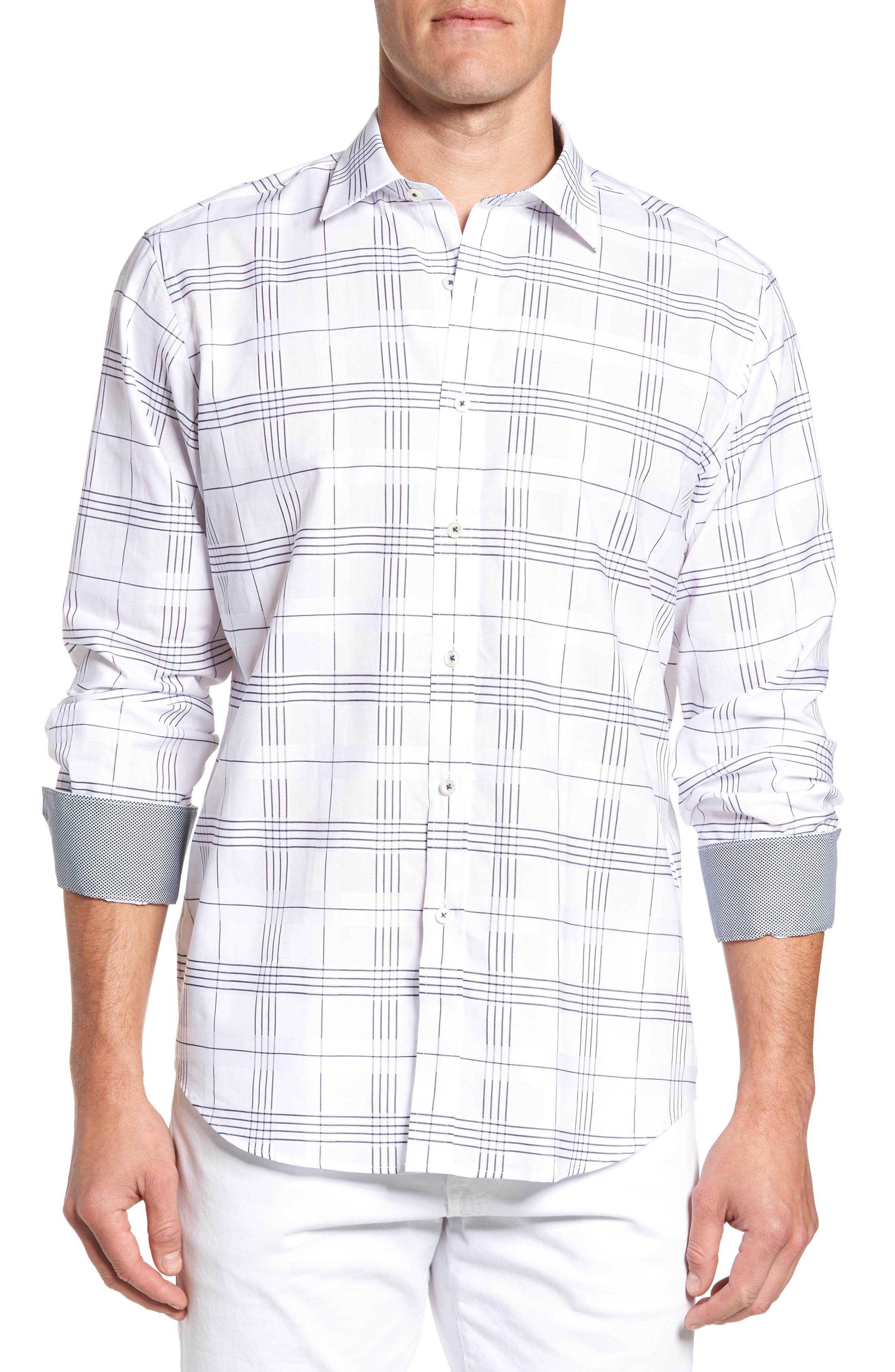 Classic Fit Check Sport Shirt,                         Main,                         color, White