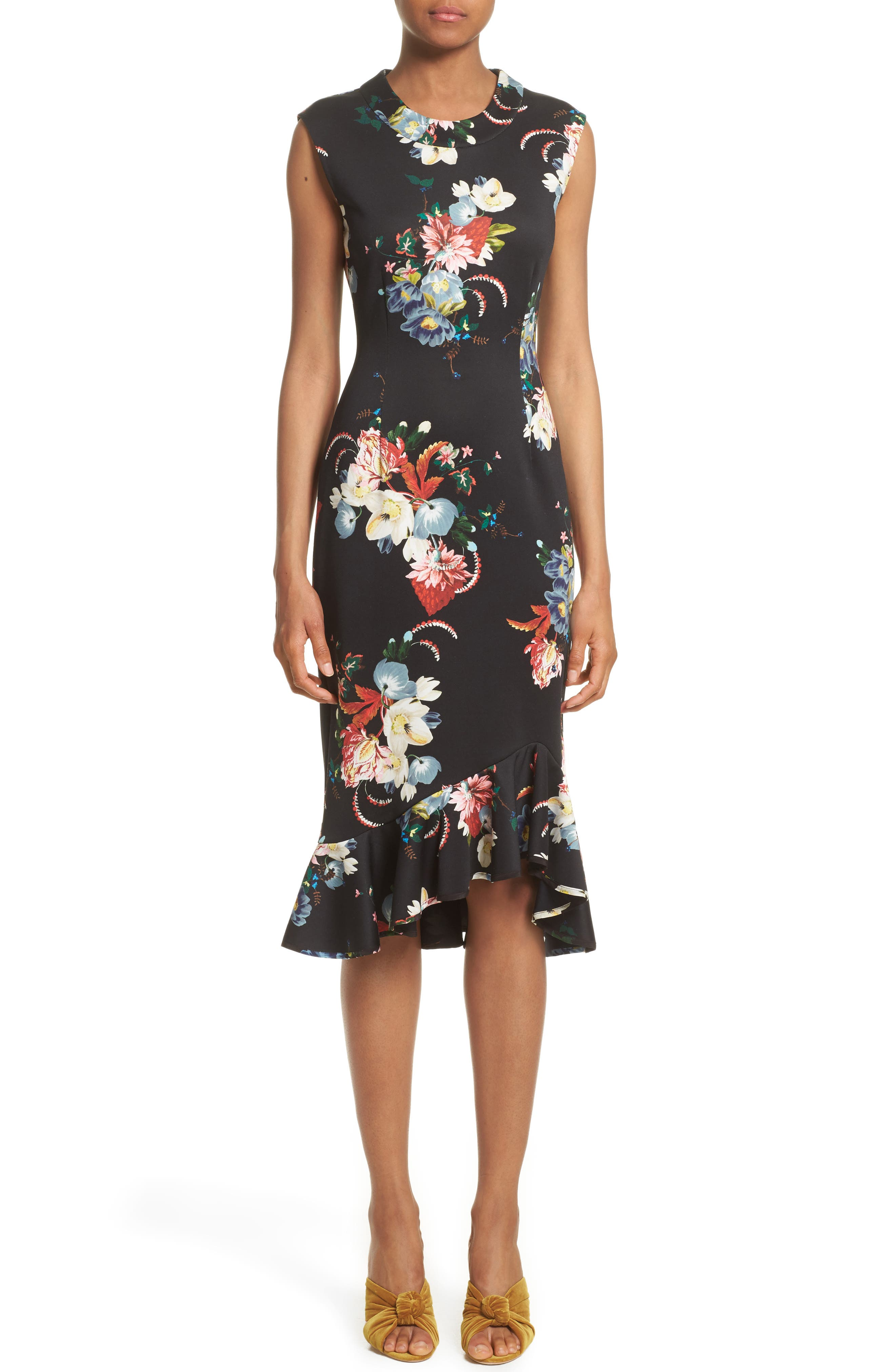 Floral Print Flounce Hem Cady Dress,                             Main thumbnail 1, color,                             Black/ Multi