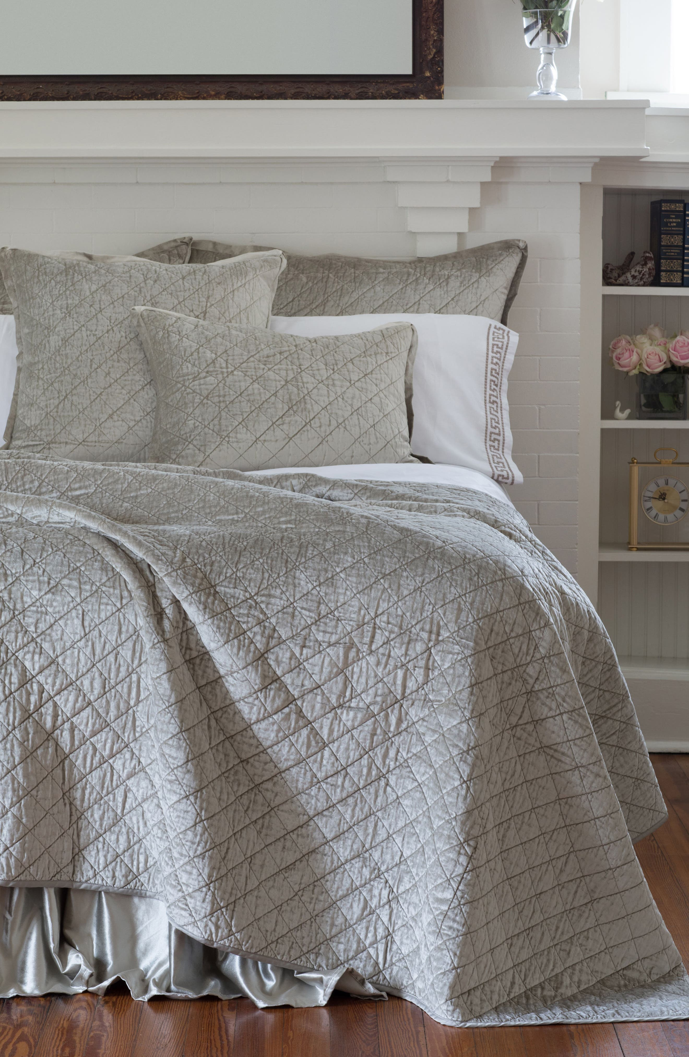 Chloe Quilted Euro Sham,                             Alternate thumbnail 2, color,                             Grey