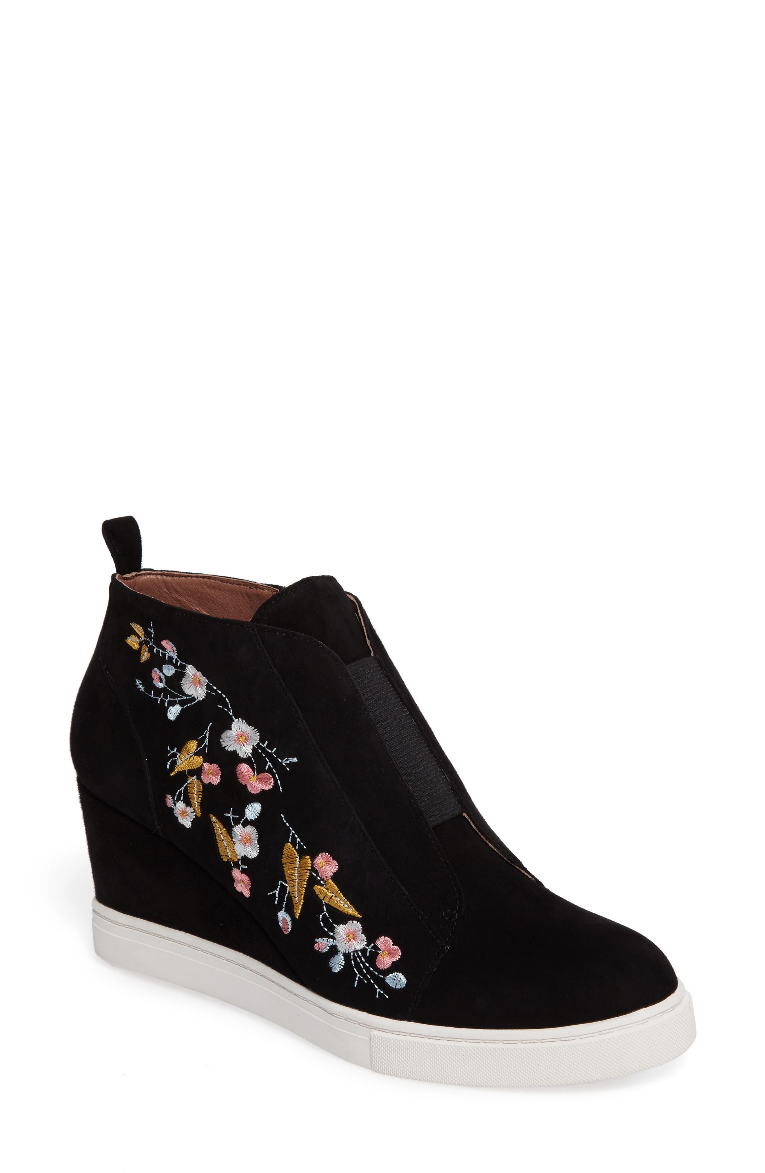 Felicia II Wedge Bootie,                             Main thumbnail 1, color,                             Black Embroidery Suede