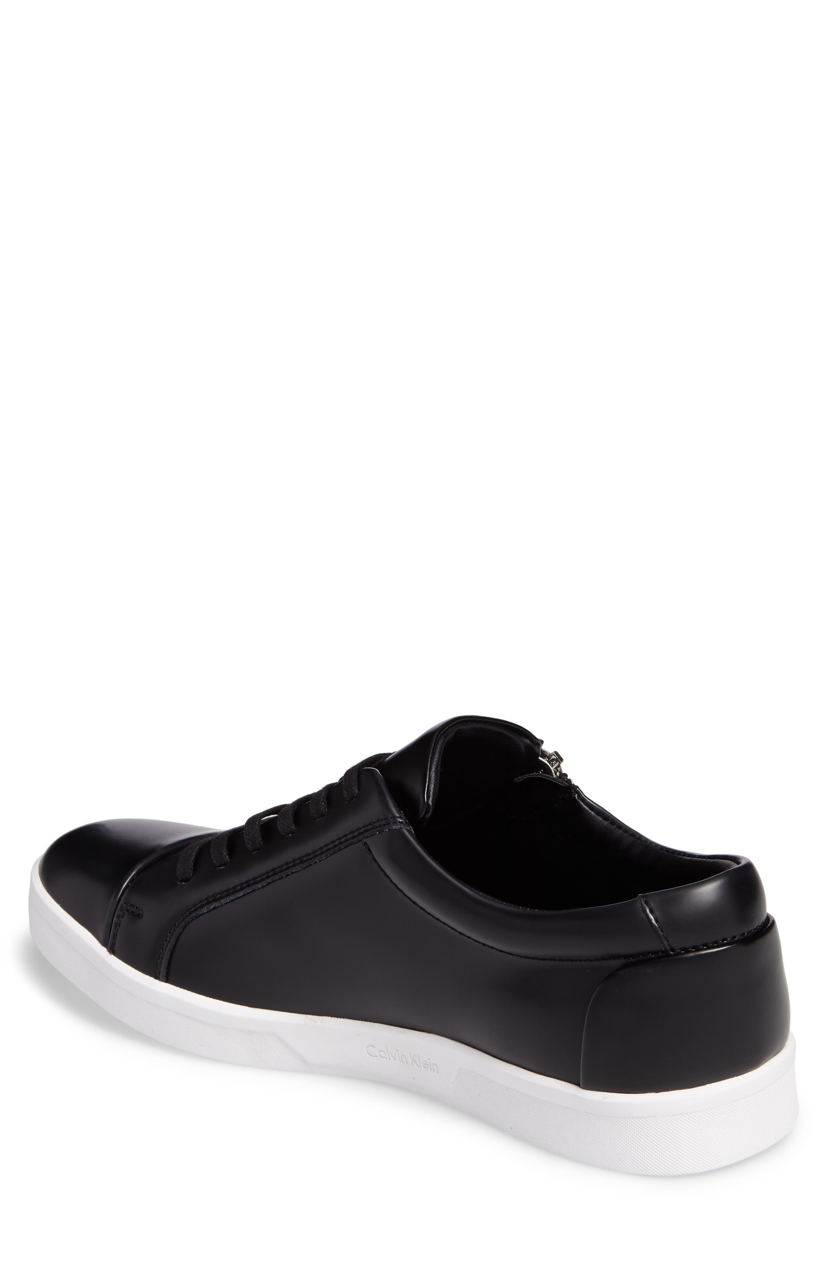 Ibrahim Cap-Toe Zip Sneaker,                             Alternate thumbnail 2, color,                             Black Leather