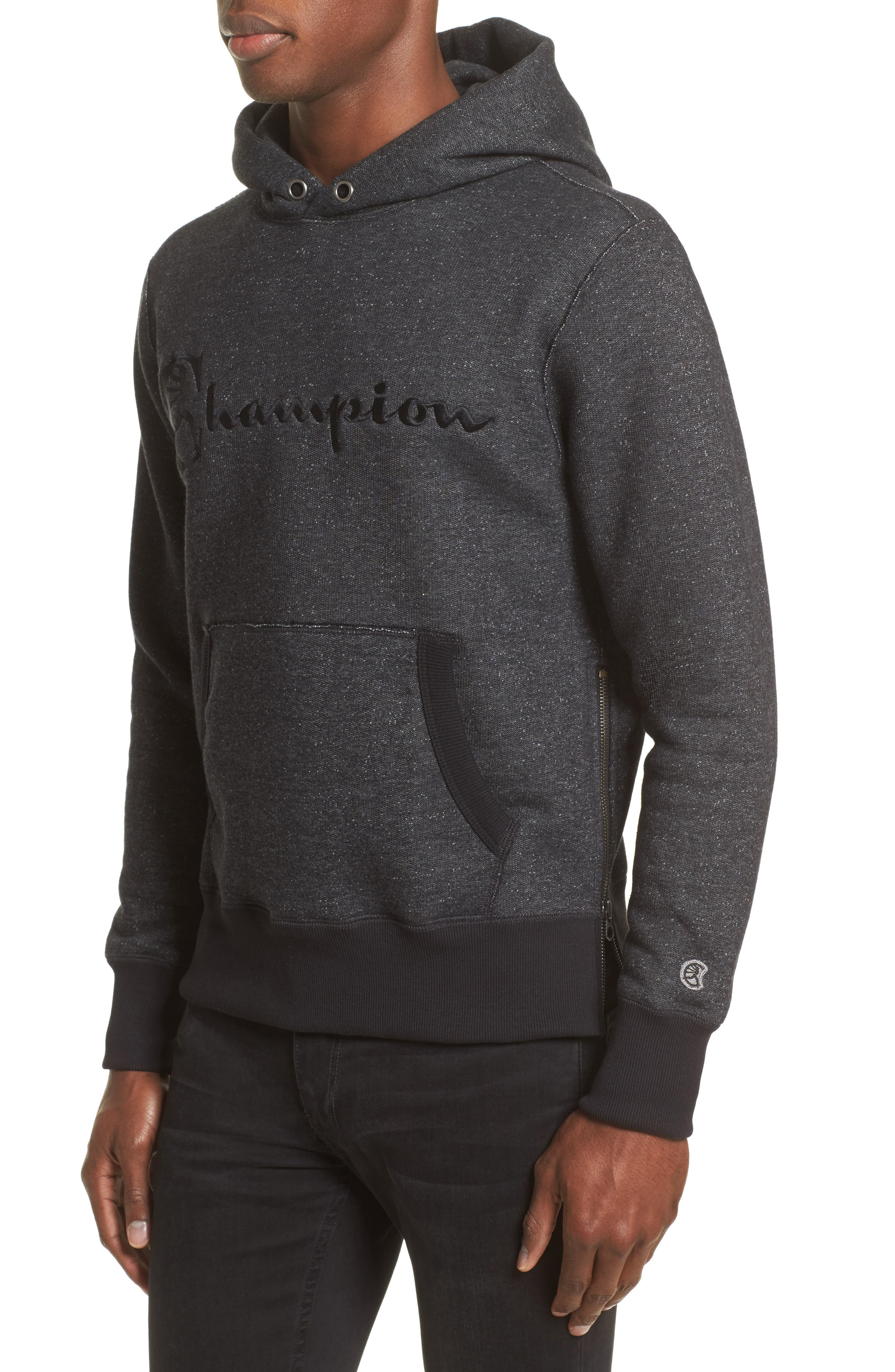 + Champion Hoodie,                             Alternate thumbnail 4, color,                             Black