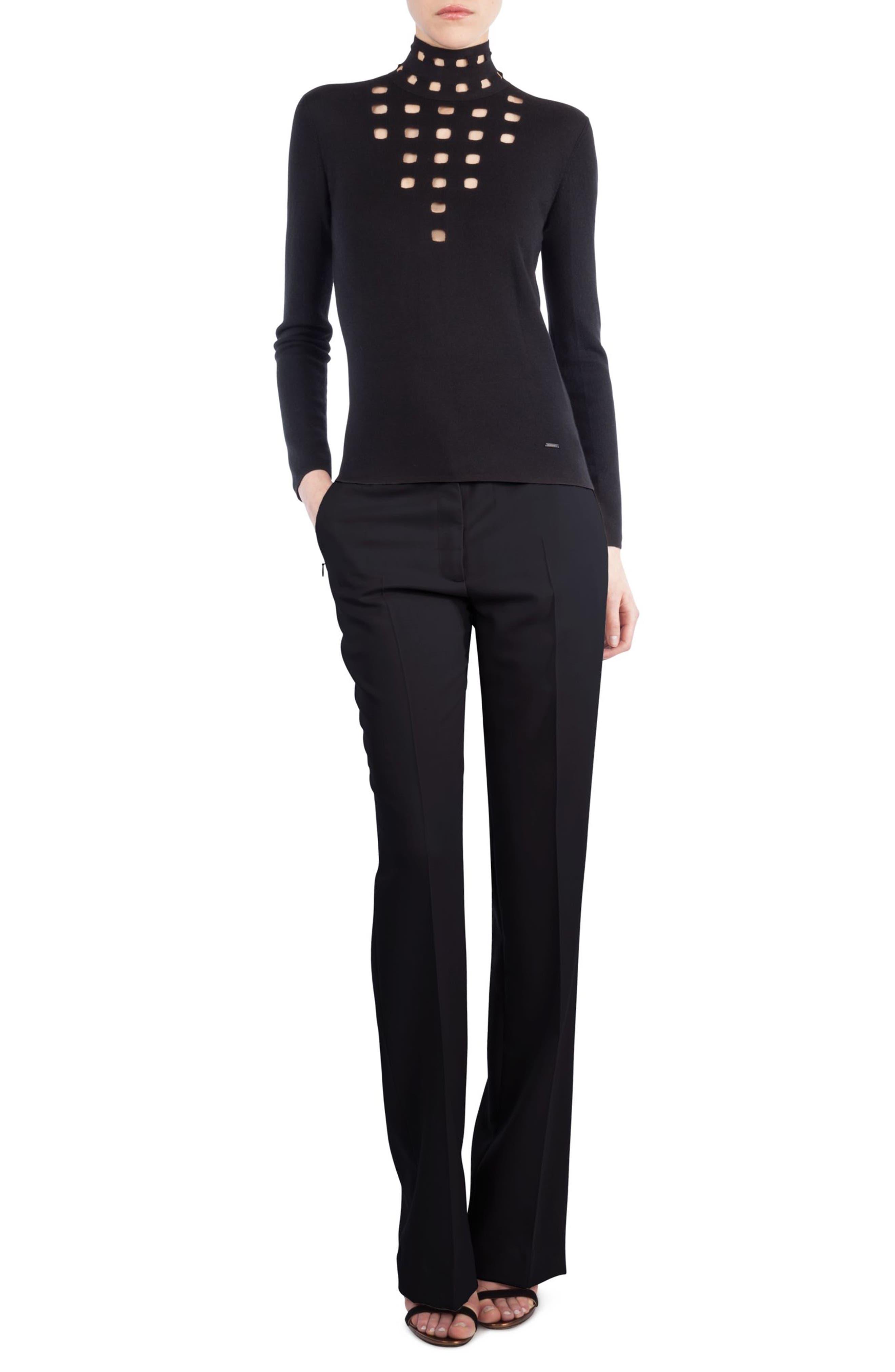 St. Gallen Cutout Cashmere & Silk Turtleneck Sweater,                             Main thumbnail 1, color,                             Black