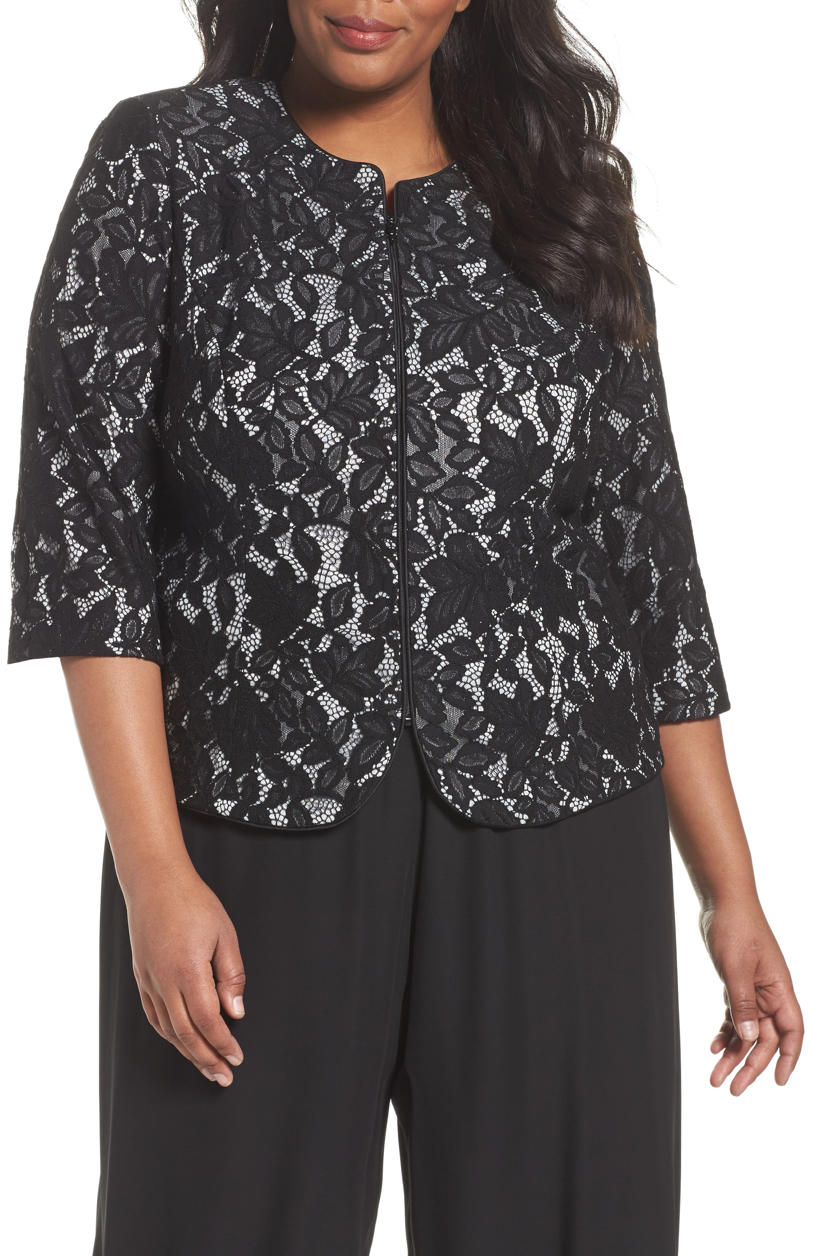 Lace Jacket,                             Main thumbnail 1, color,                             Black/ Silver