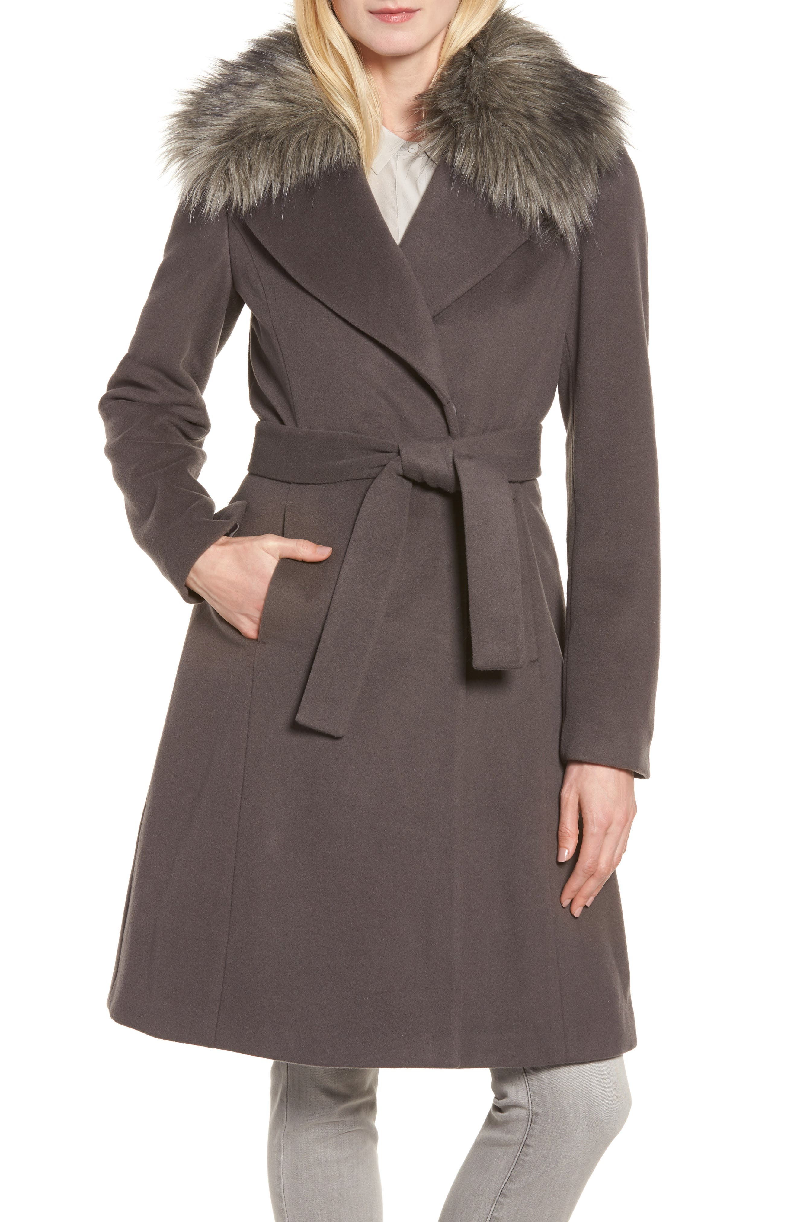 Fiona Wrap Coat with Removable Faux Fur Collar,                             Main thumbnail 1, color,                             Moon Grey