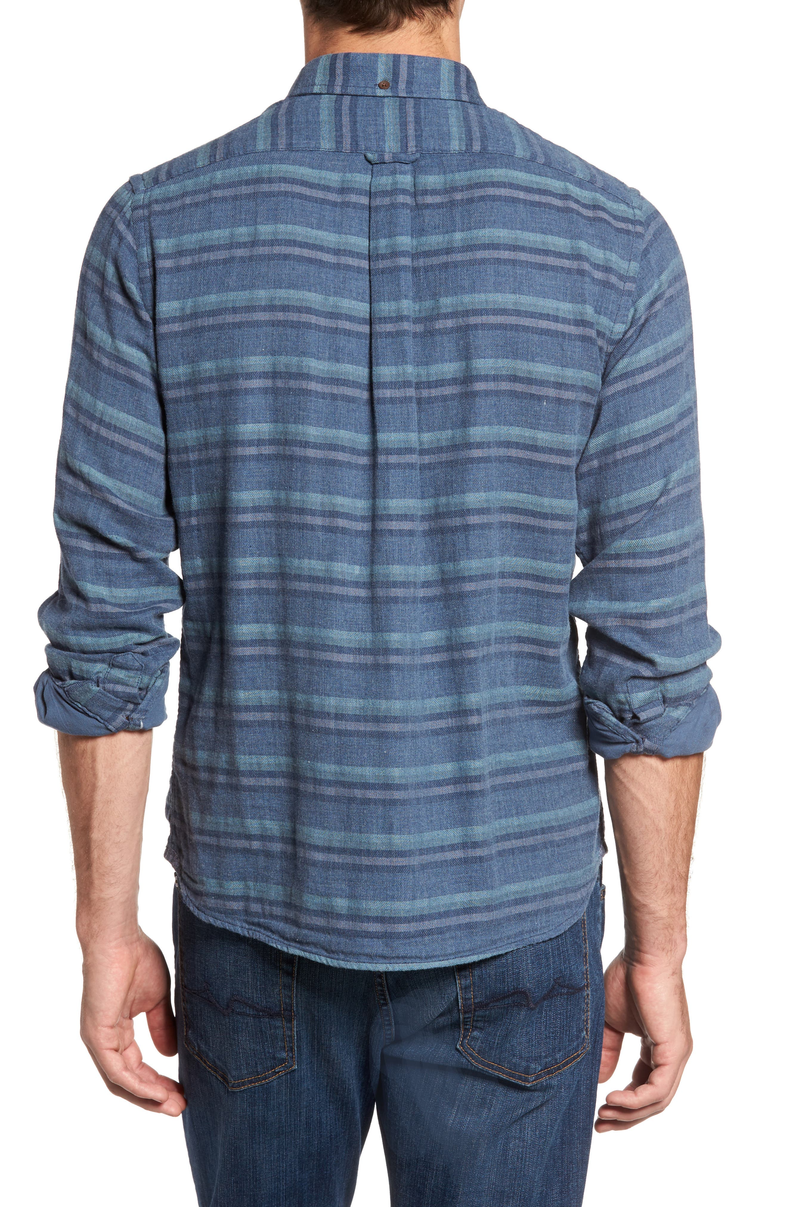 Alternate Image 2  - Grayers Harcourt Modern Fit Double Cloth Striped Sport Shirt