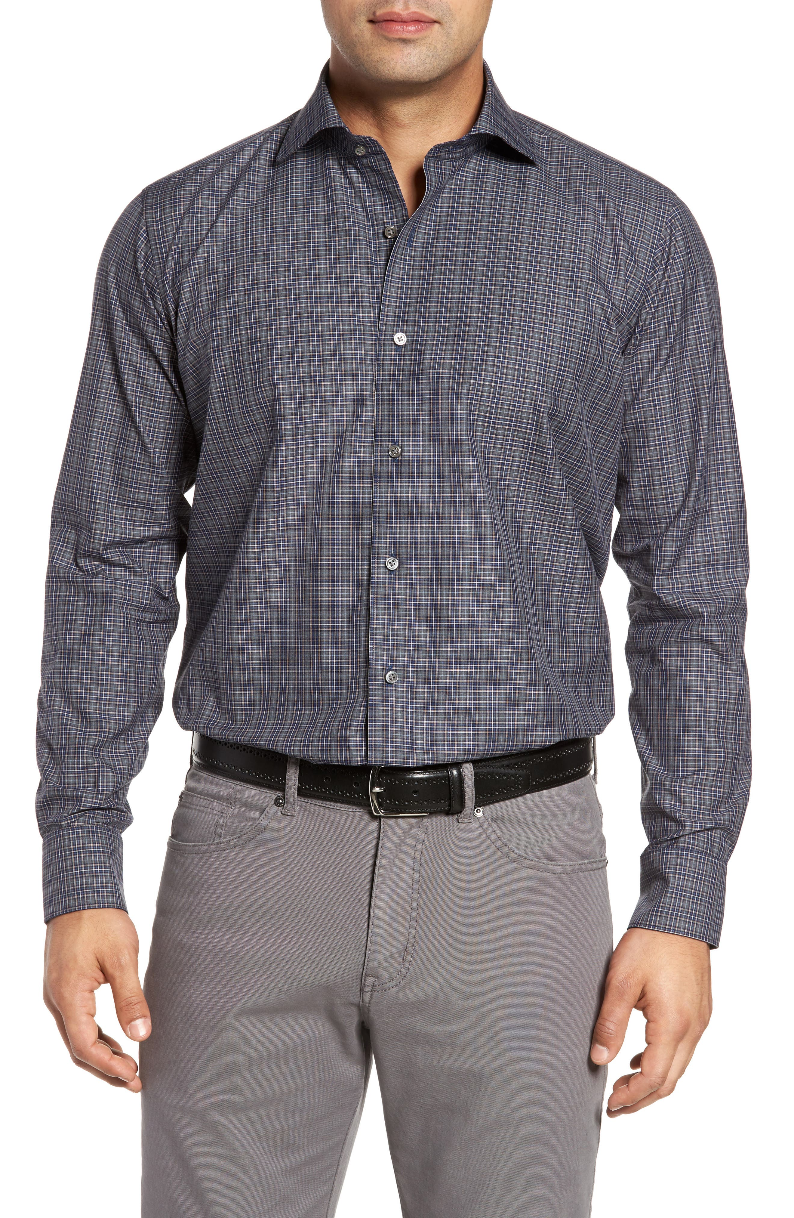 Main Image - Peter Millar Collection Meadows Mélange Regular Fit Check Sport Shirt