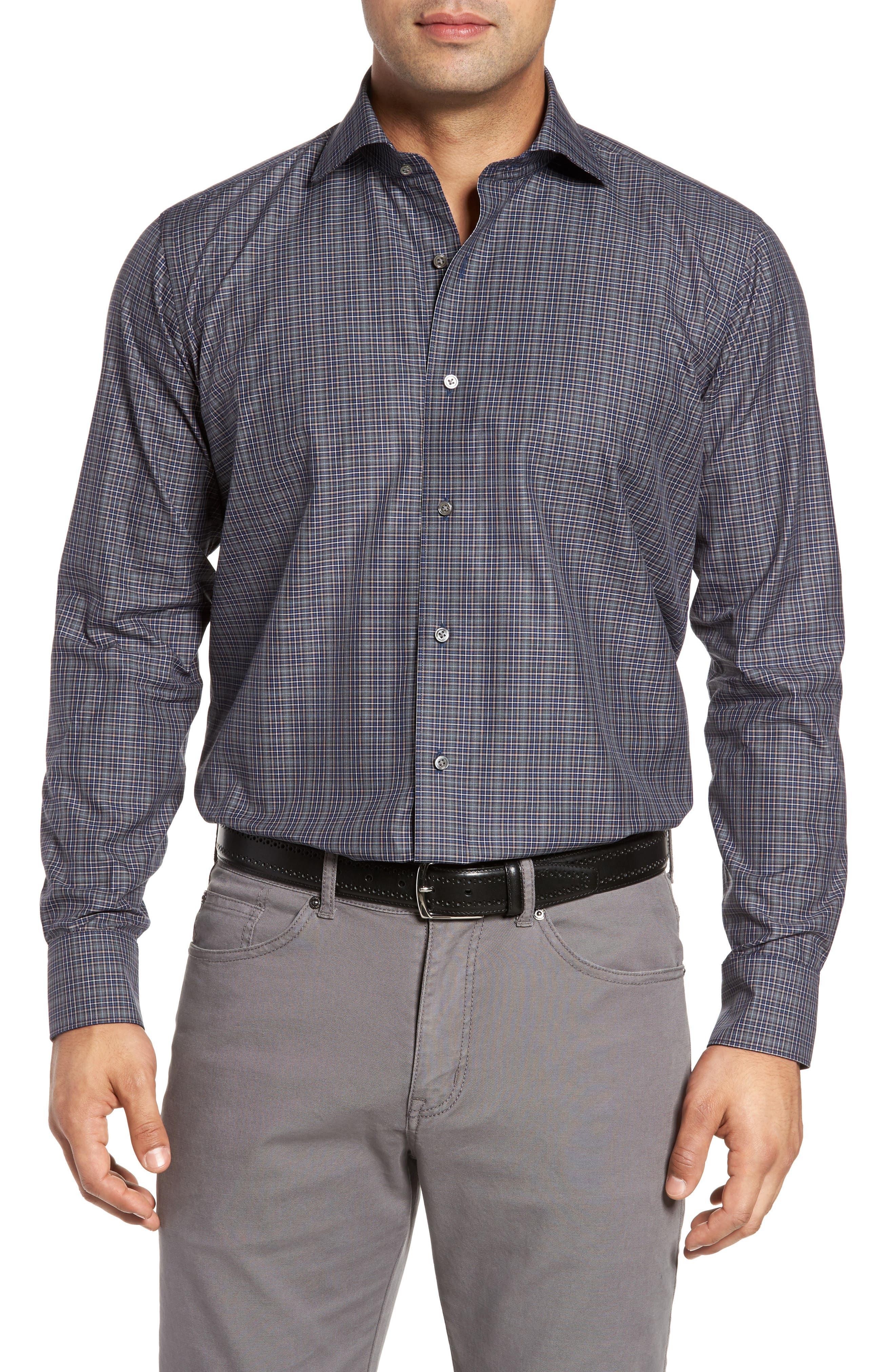 Meadows Mélange Regular Fit Check Sport Shirt,                         Main,                         color, Blue