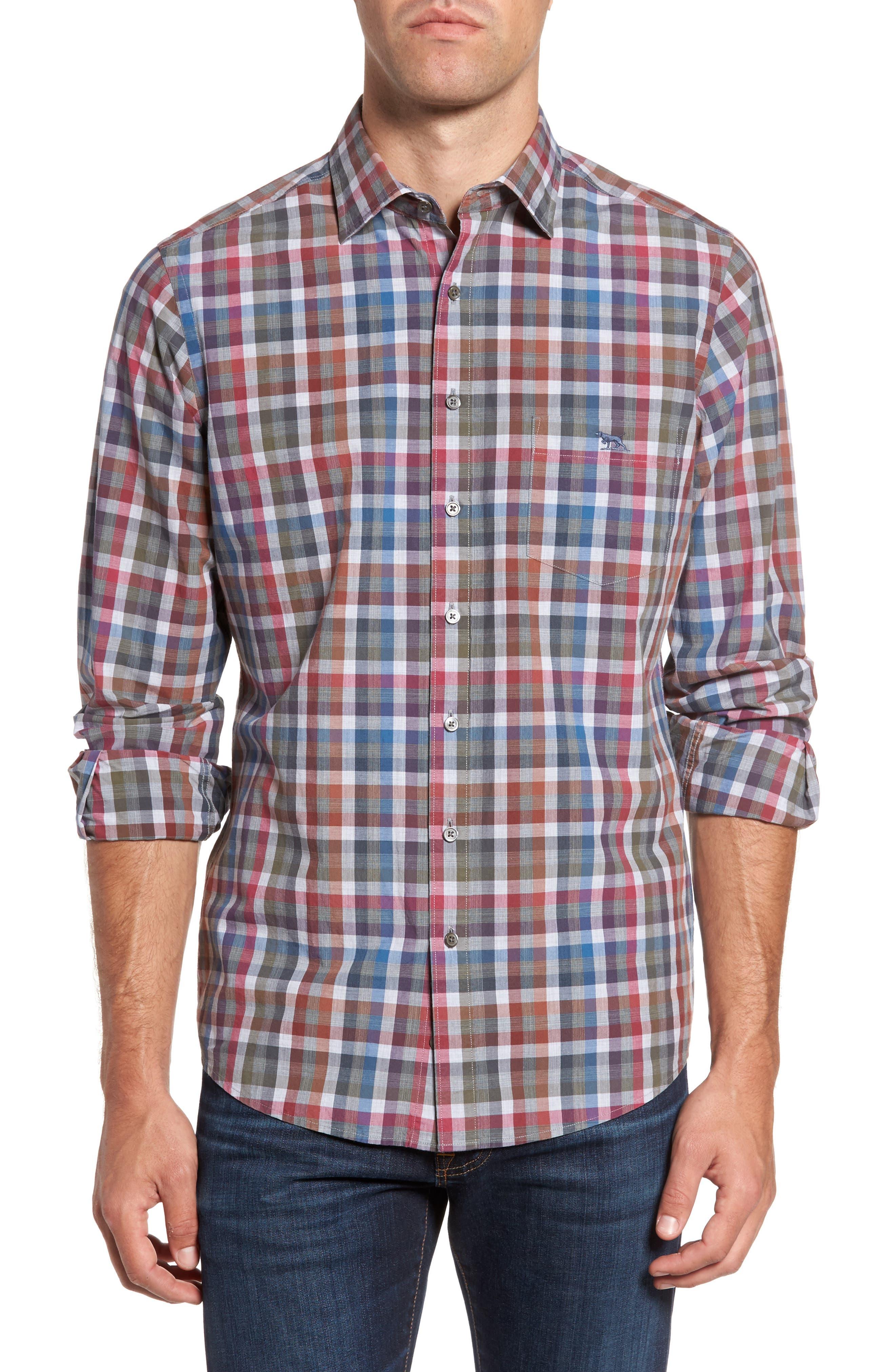 Brookview Sports Fit Plaid Sport Shirt,                         Main,                         color, Bluestone