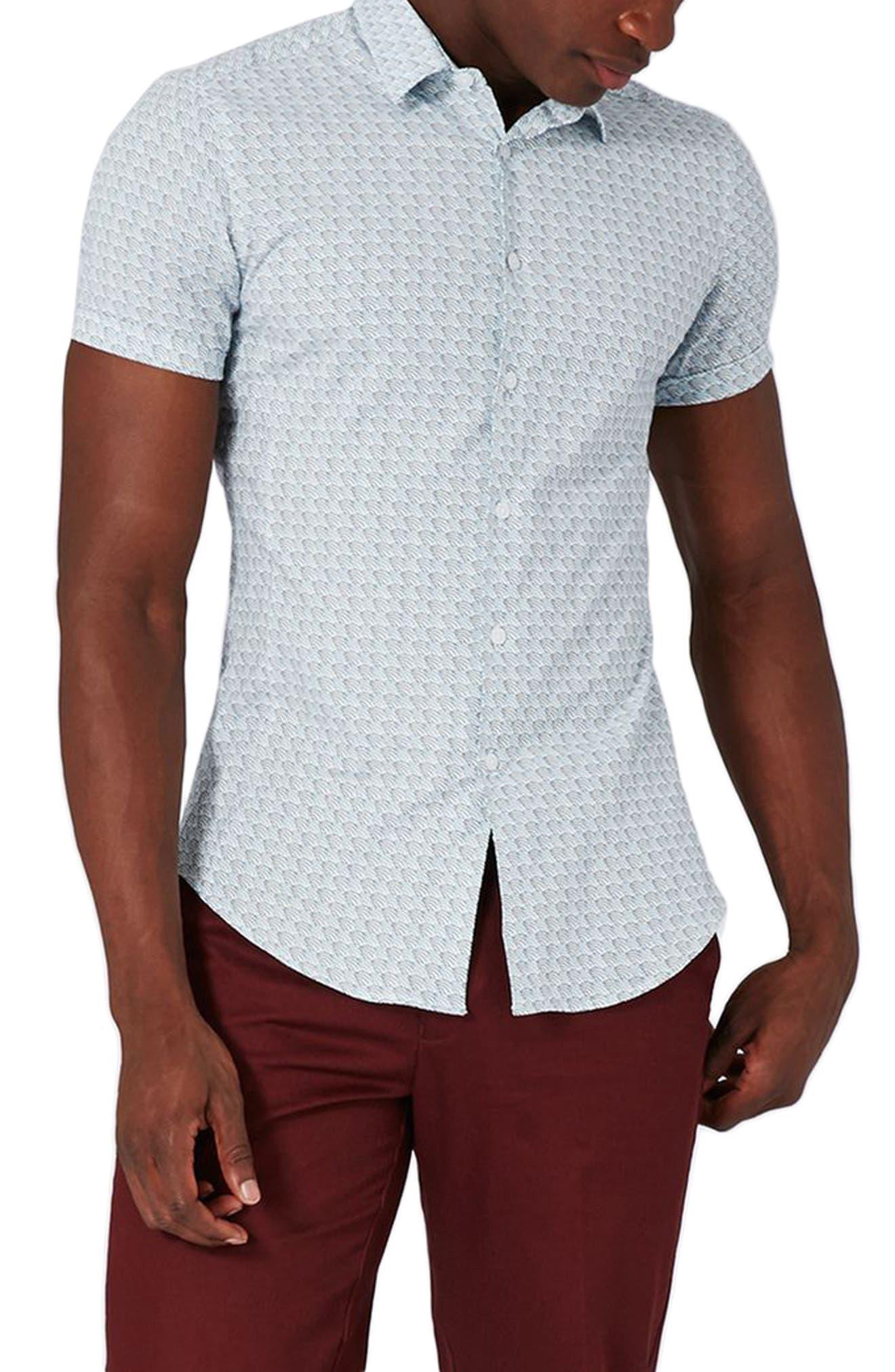 Waves Print Shirt,                         Main,                         color, Light Blue Multi