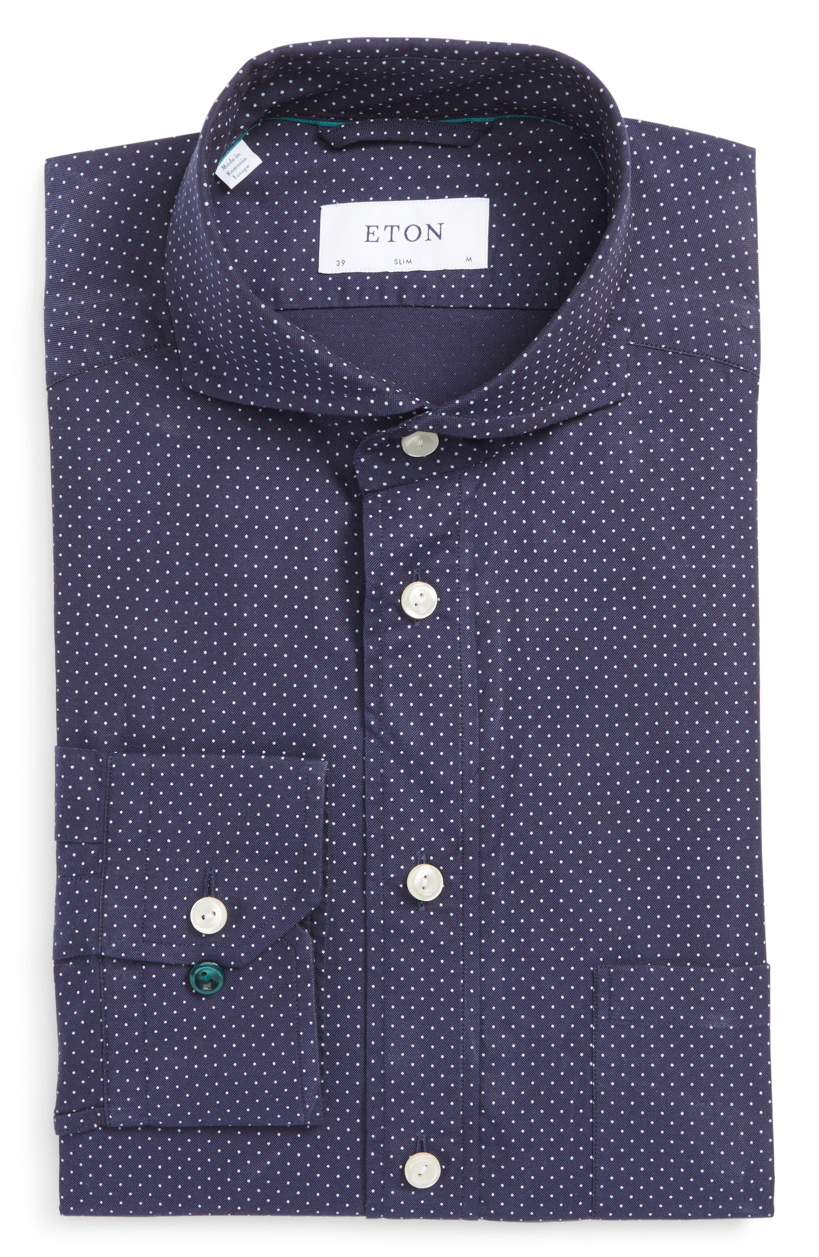 Slim Fit Microdot Dress Shirt,                             Main thumbnail 1, color,                             Navy