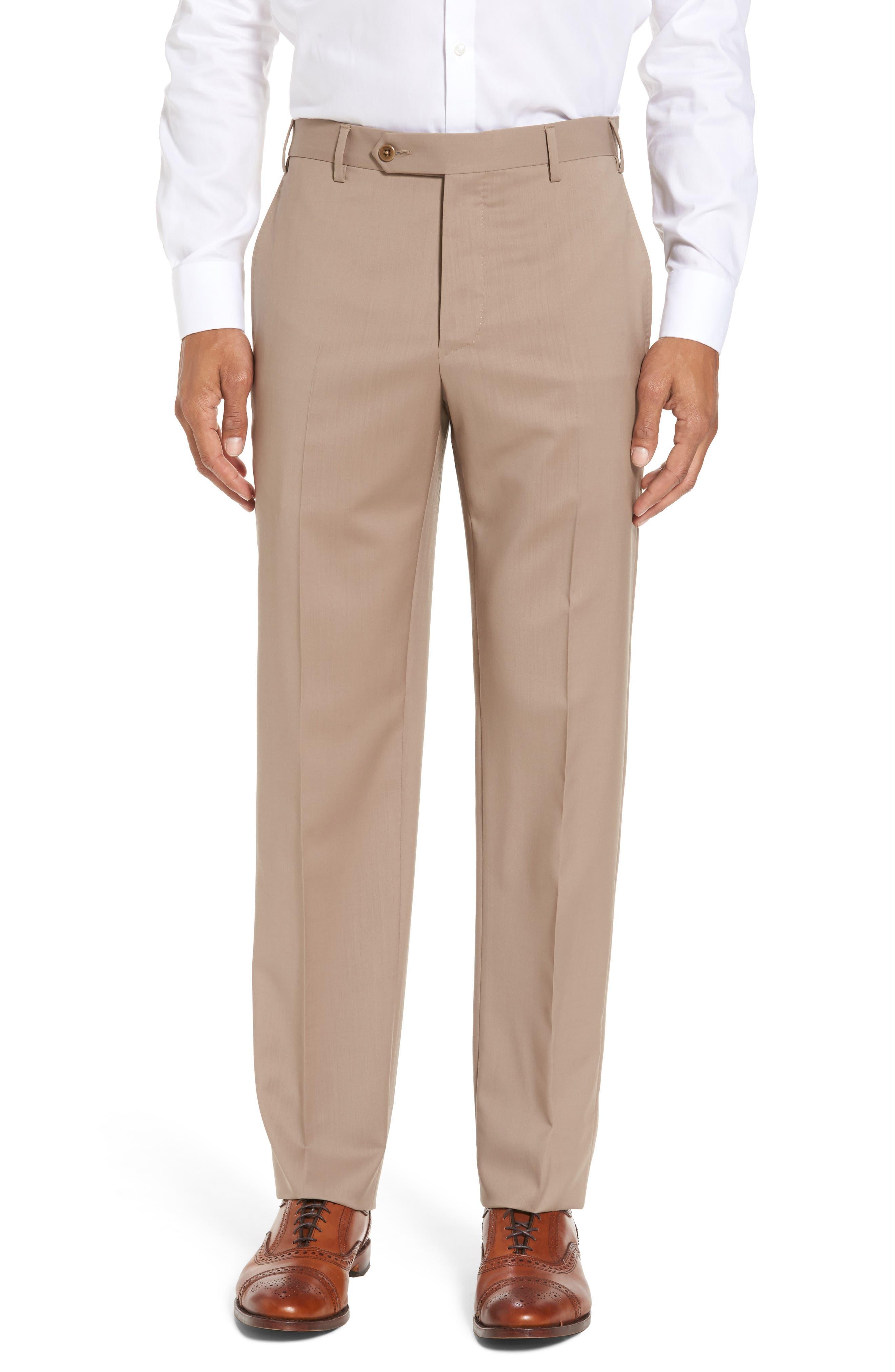 Main Image - Zanella Devon Flat Front Solid Wool Trousers