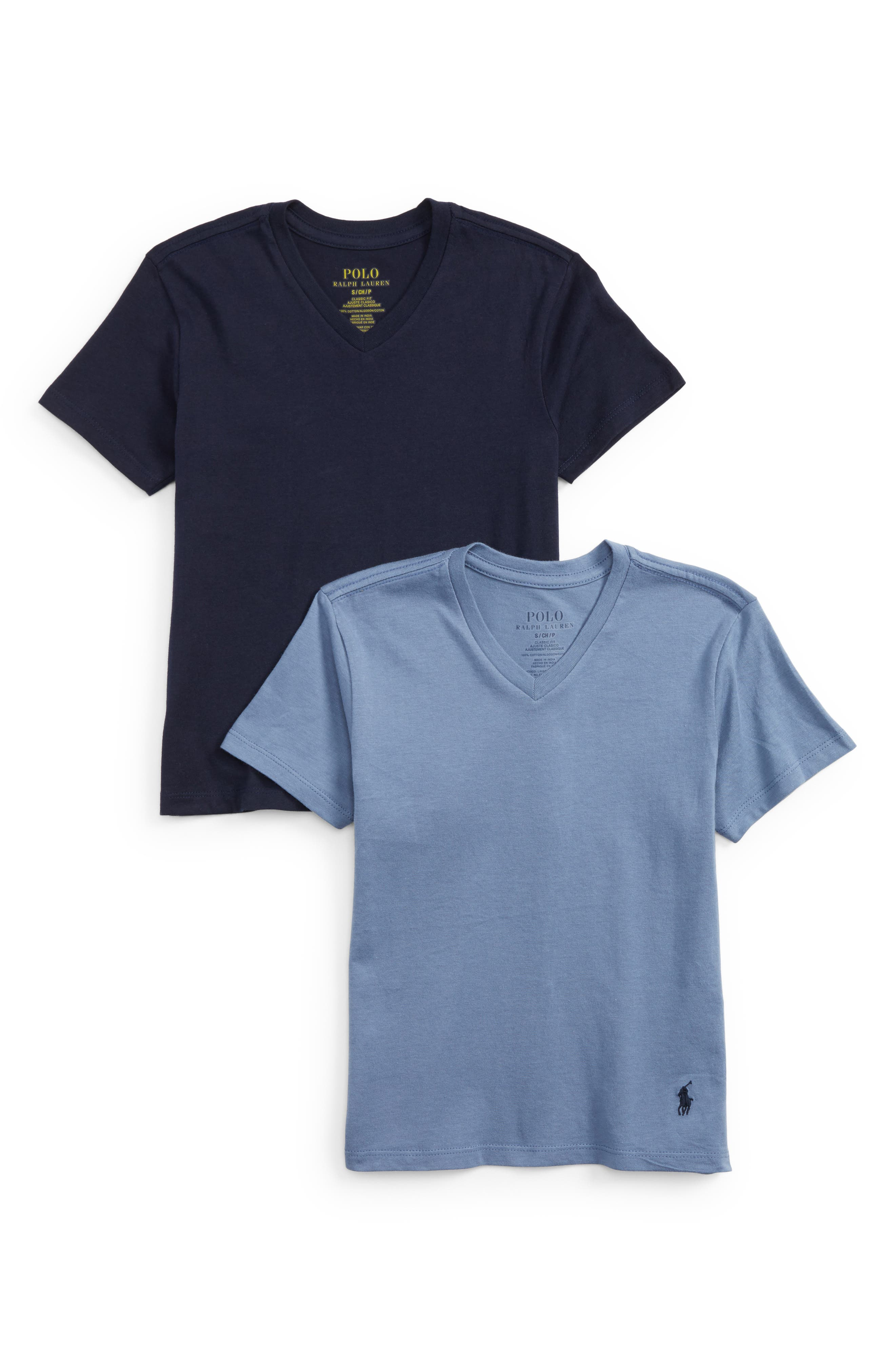 2-Pack V-Neck T-Shirts,                         Main,                         color, Cruise Navy/ Carson Blue