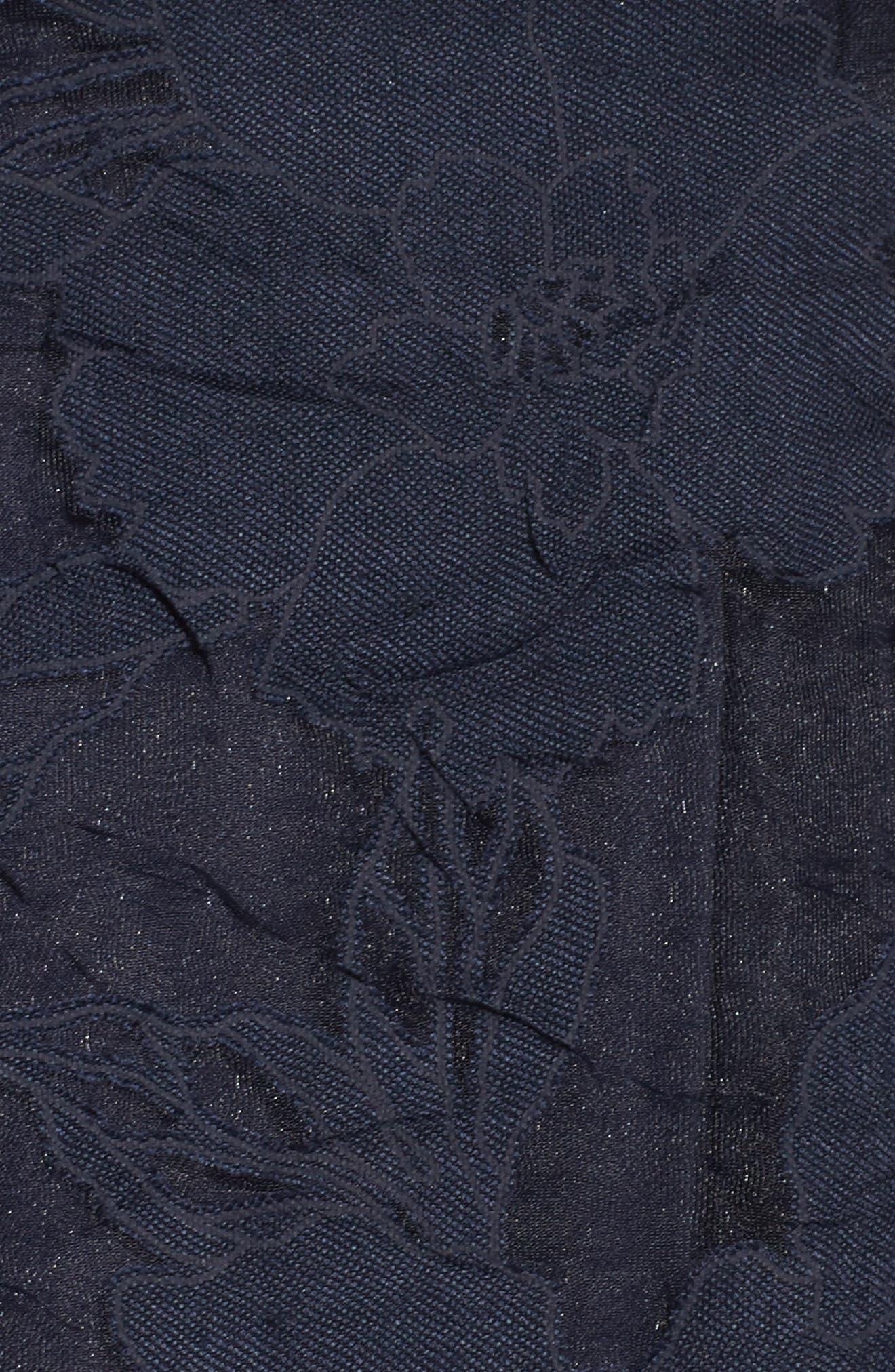 Lace Fit & Flare Dress,                             Alternate thumbnail 6, color,                             Navy/ Black
