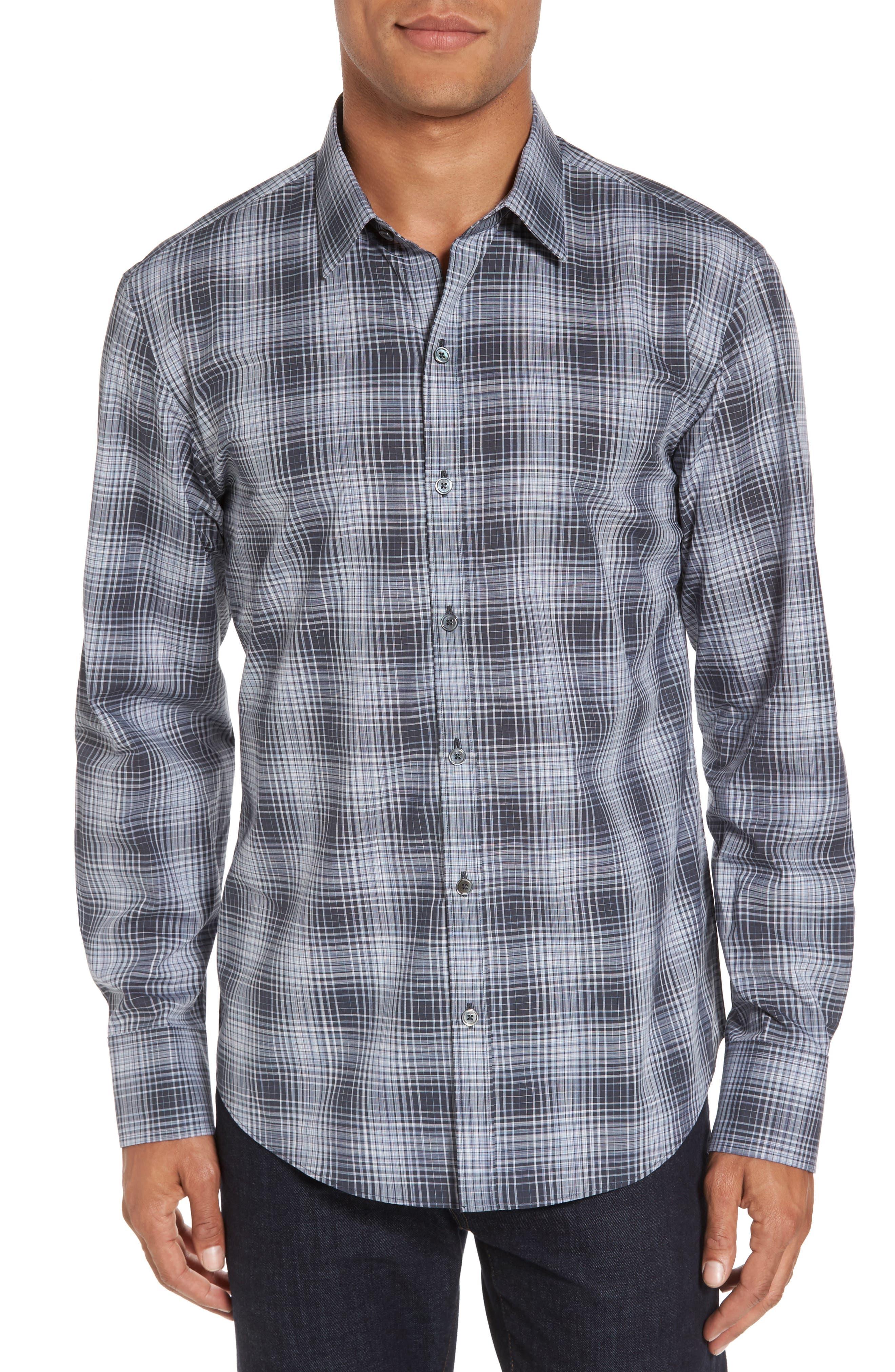 Zander Check Sport Shirt,                             Main thumbnail 1, color,                             Dark Grey