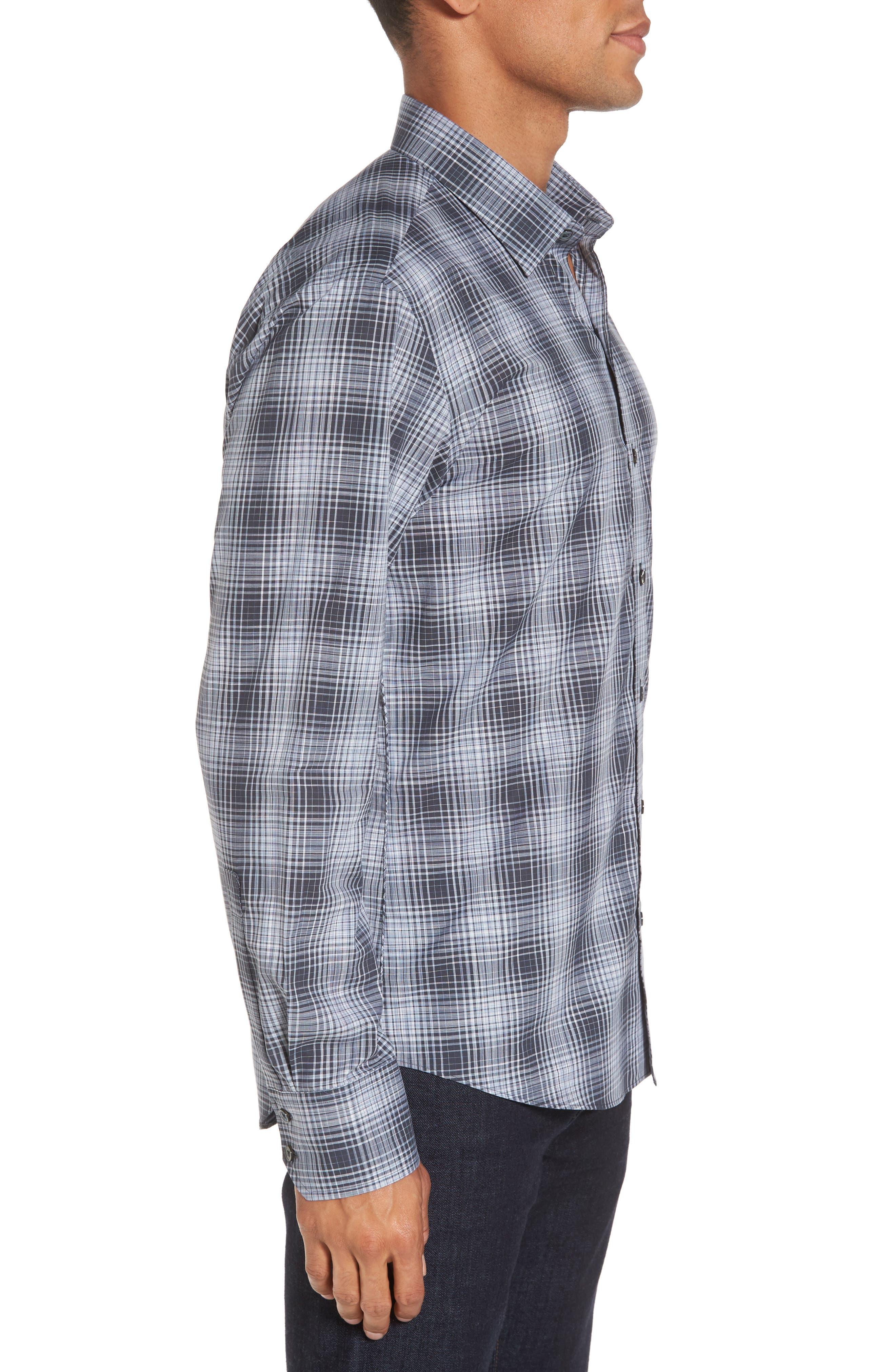 Zander Check Sport Shirt,                             Alternate thumbnail 3, color,                             Dark Grey