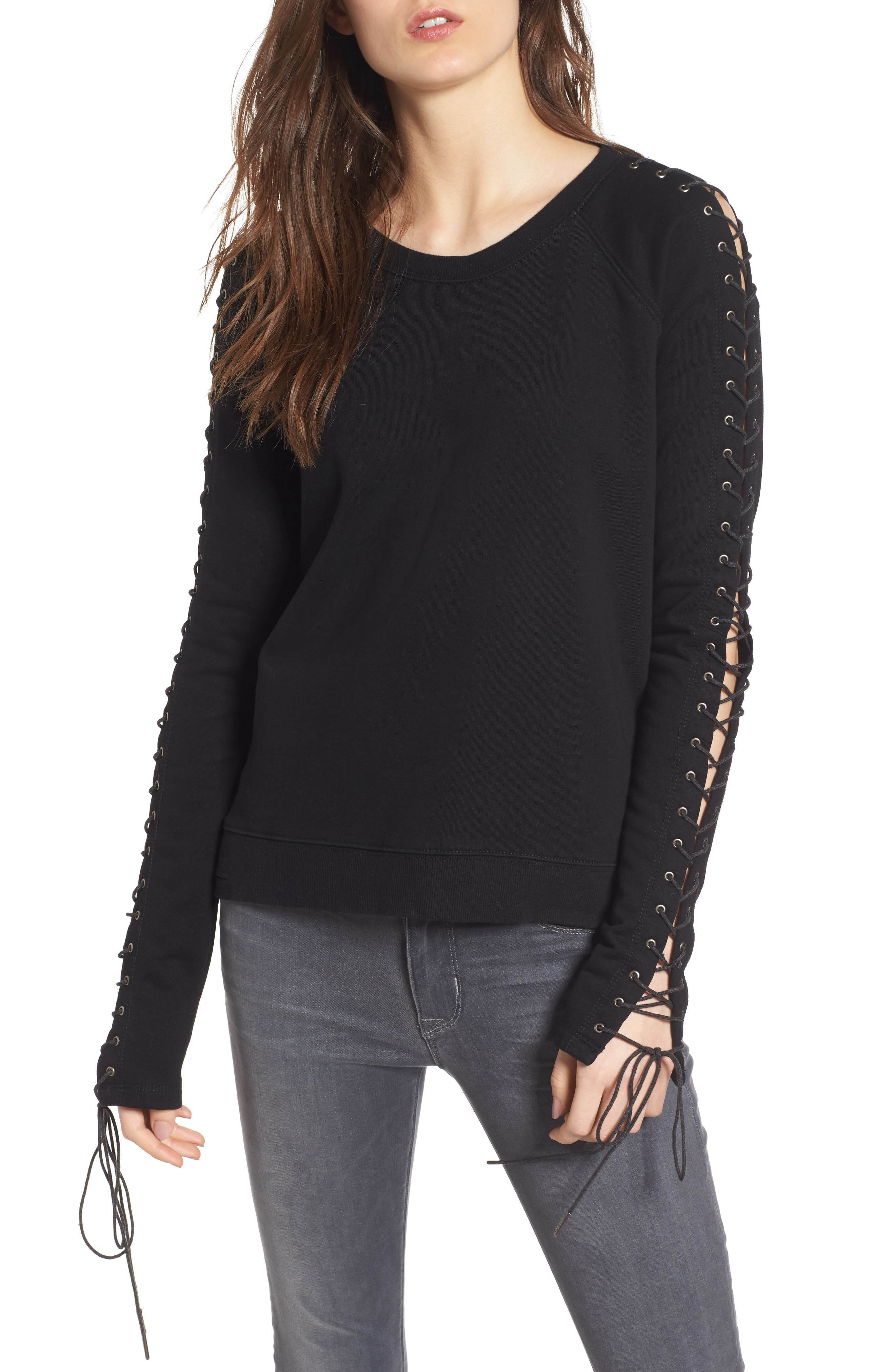 Lace-Up Sleeve Sweatshirt,                         Main,                         color, Black